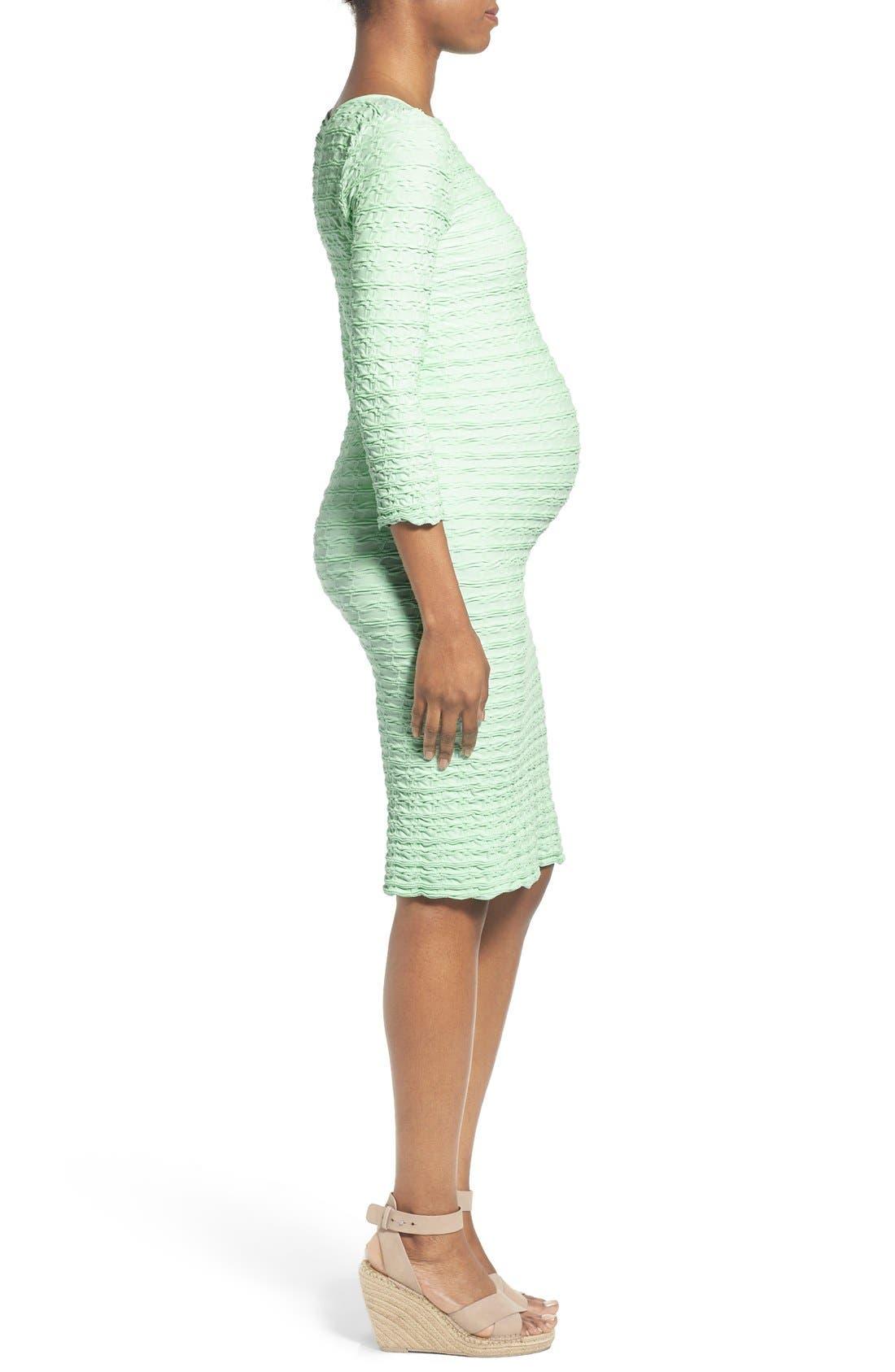 'Crinkle' Maternity Midi Dress,                             Alternate thumbnail 9, color,