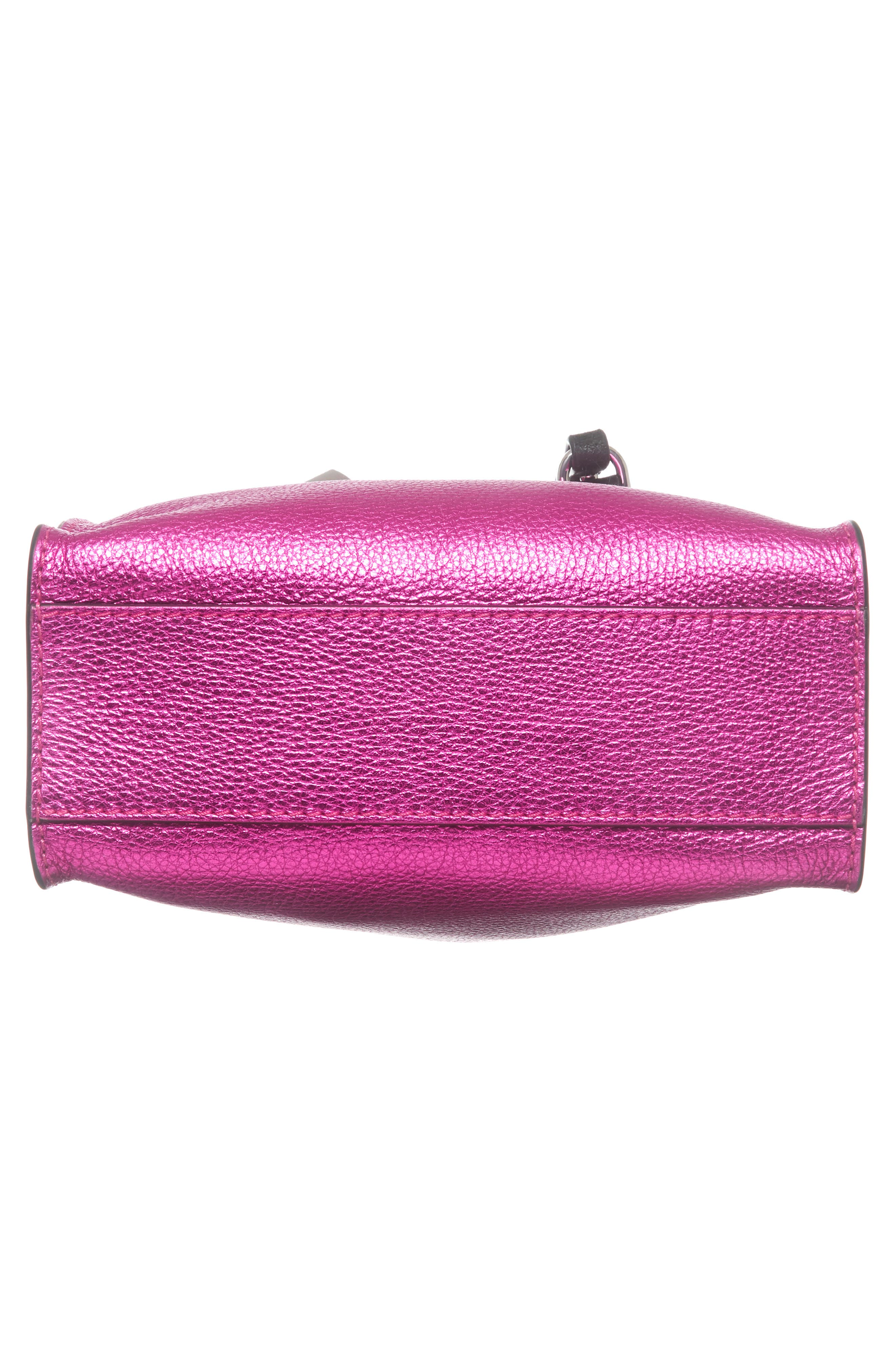 Mini The Grind Metallic Leather Tote,                             Alternate thumbnail 6, color,                             PUNCH PINK