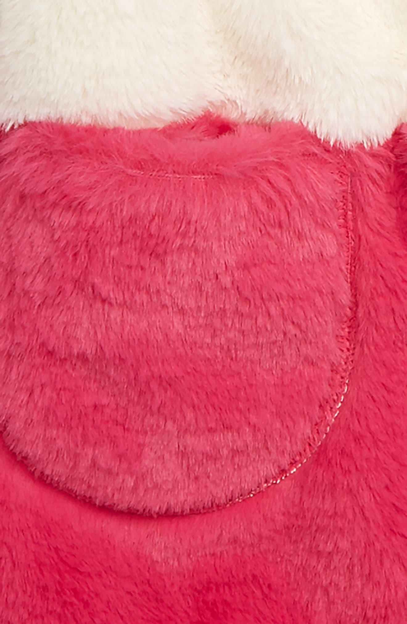 Coloblock Faux Fur Jacket,                             Alternate thumbnail 2, color,                             IVORY EGRET- PINK