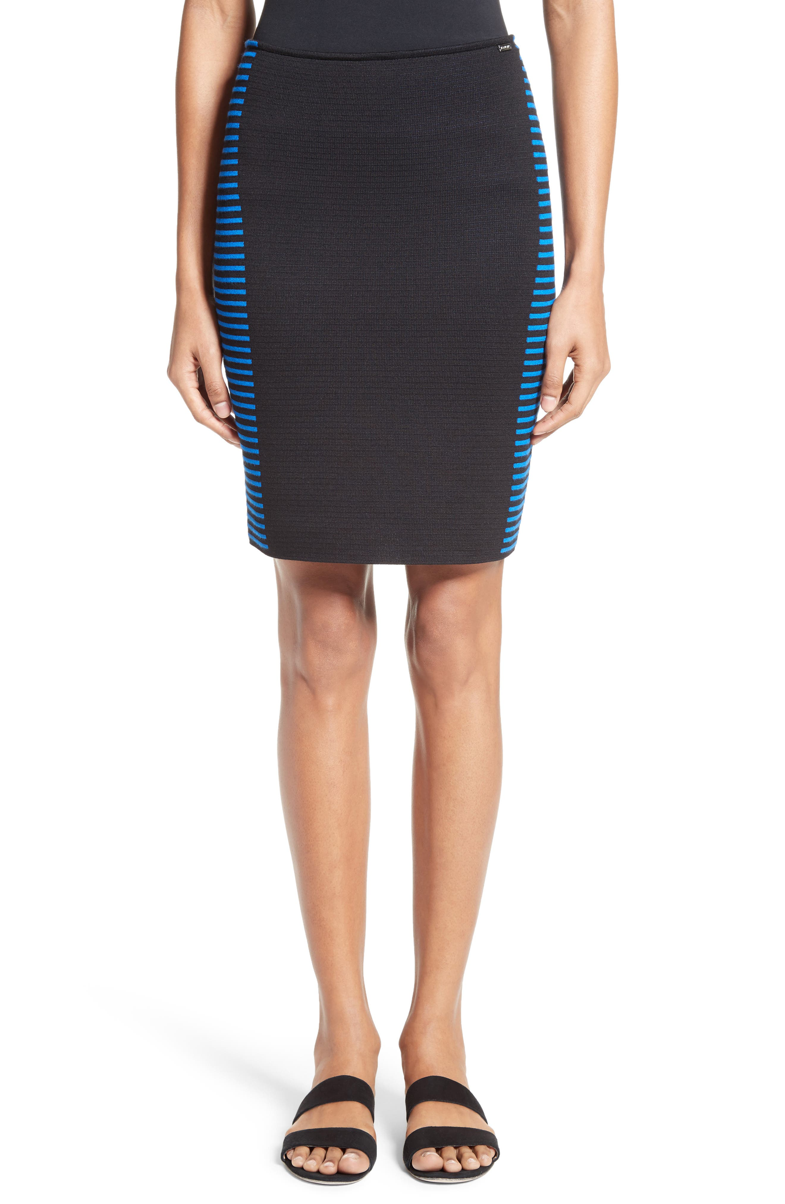 Stripe Knit Jacquard Pencil Skirt,                             Main thumbnail 1, color,                             001