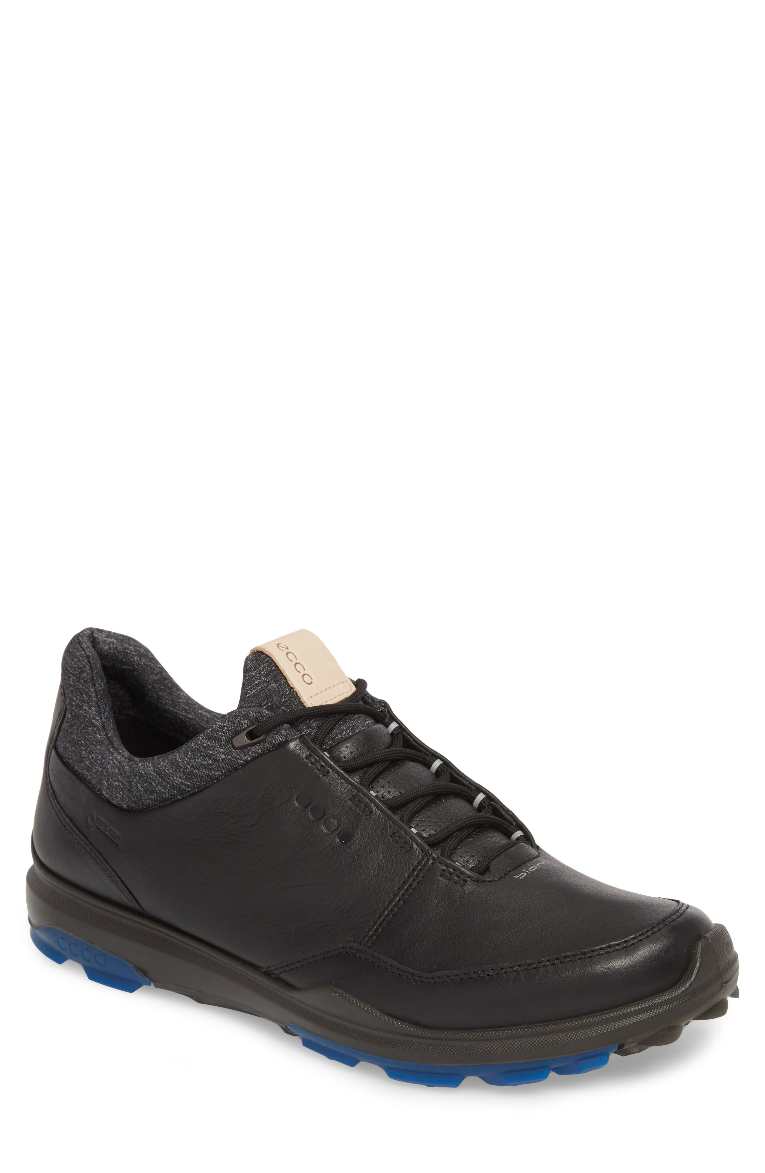 BIOM Hybrid 3 Gore-Tex<sup>®</sup> Golf Shoe,                         Main,                         color, BLACK/ BERMUDA BLUE LEATHER