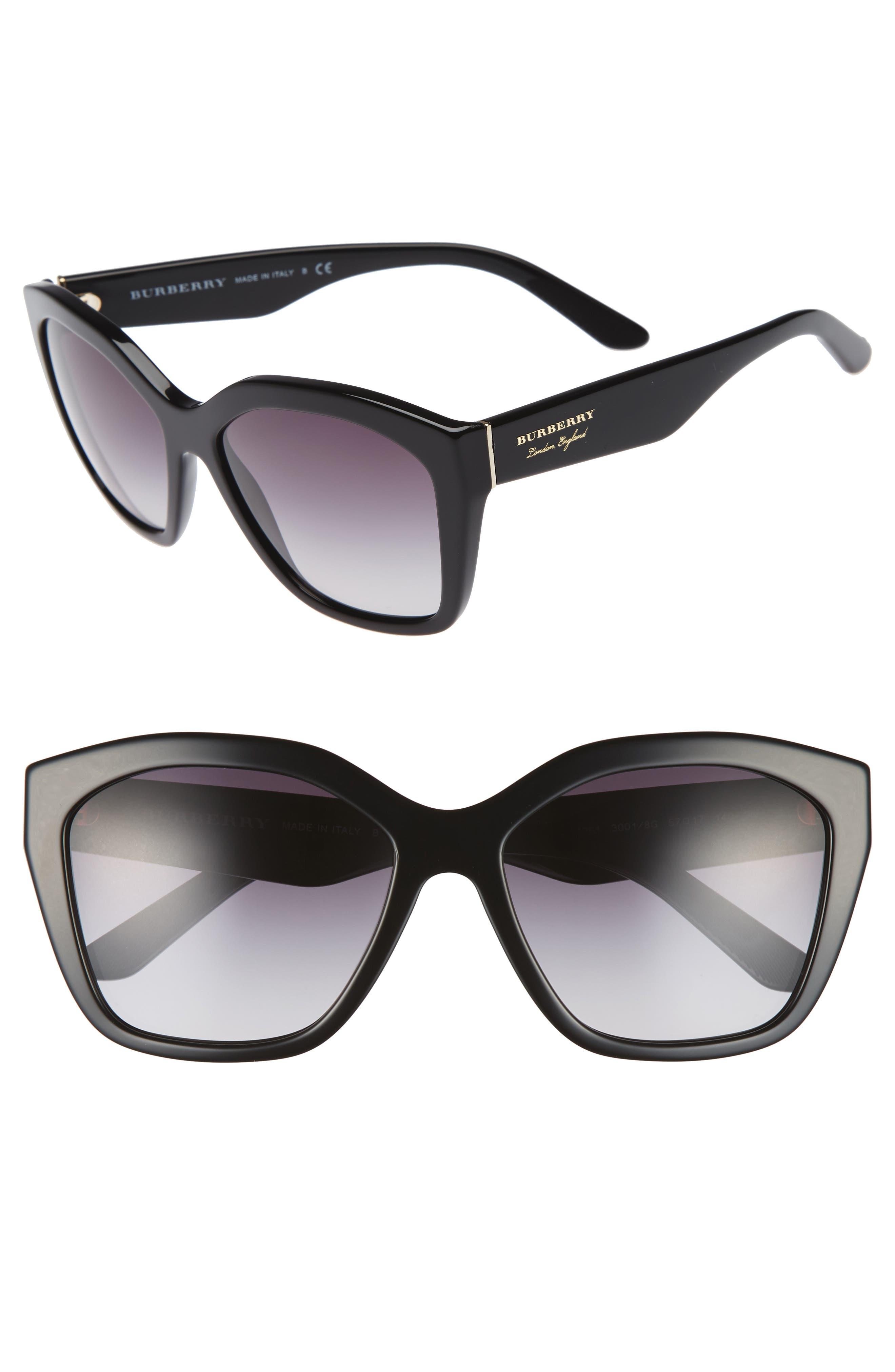 57mm Gradient Sunglasses,                             Main thumbnail 1, color,                             BLACK