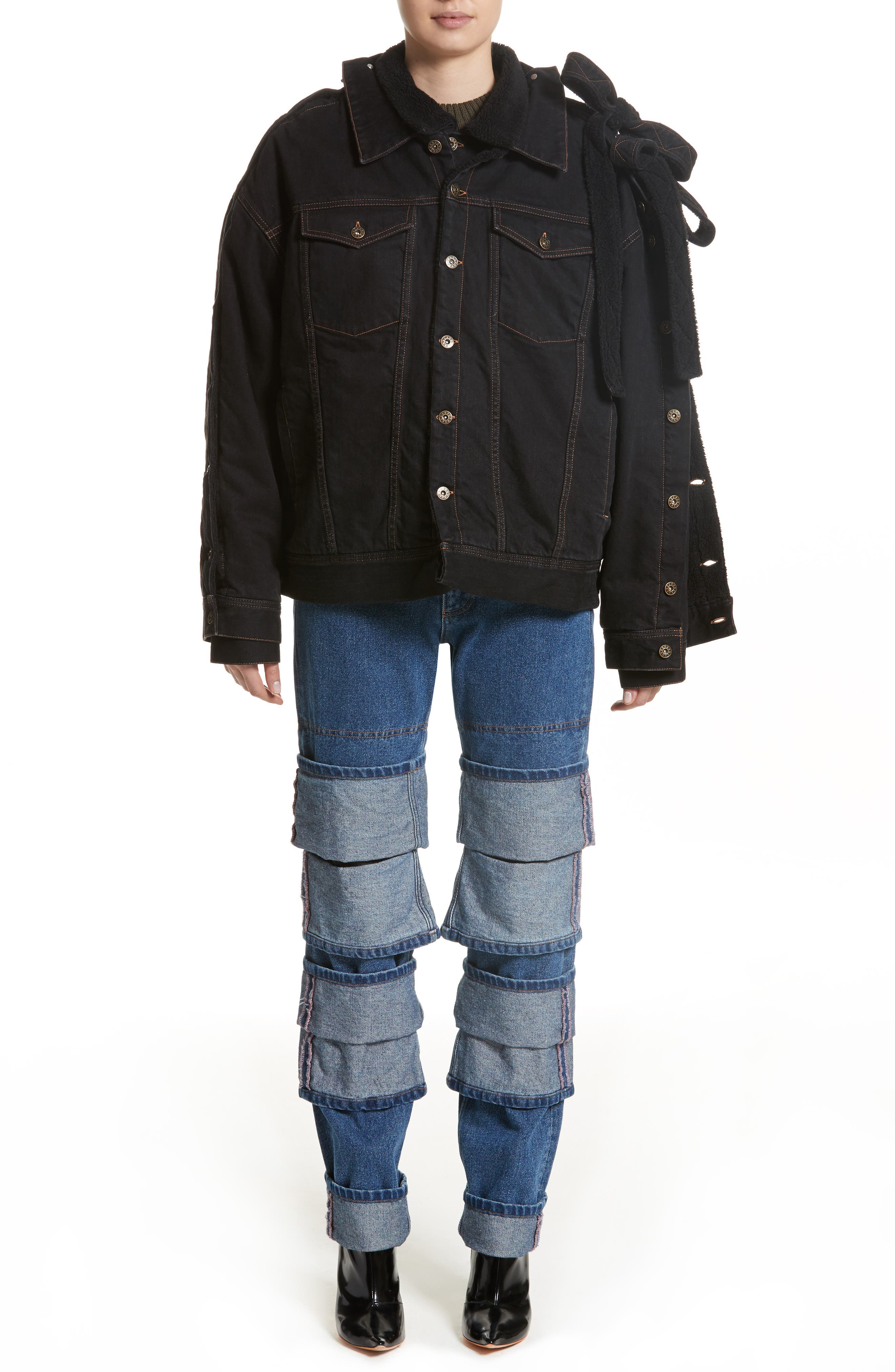 Layered Cuff Jeans,                             Alternate thumbnail 6, color,                             410
