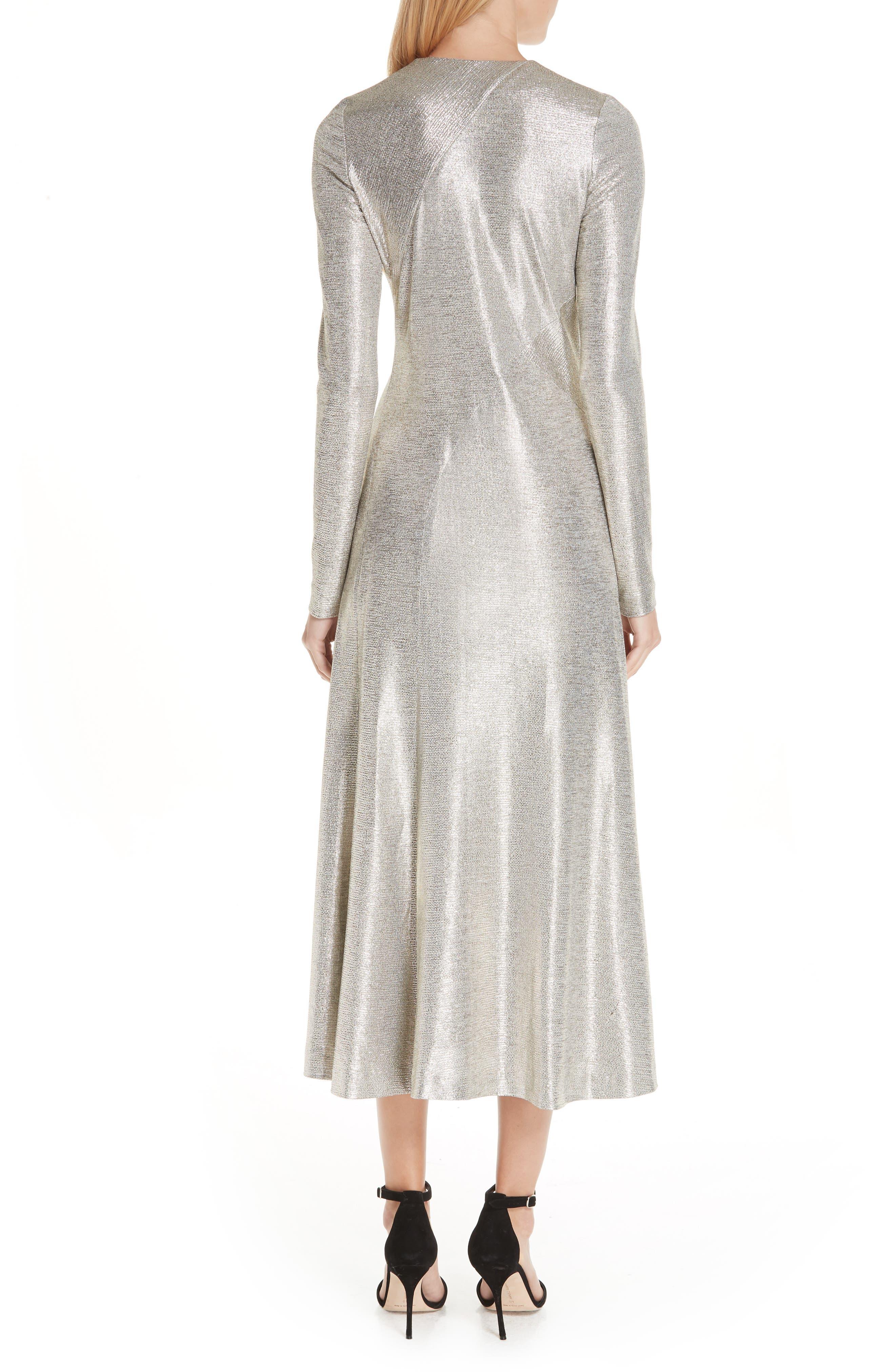 Twist Detail Metallic Dress,                             Alternate thumbnail 2, color,                             PLATINUM