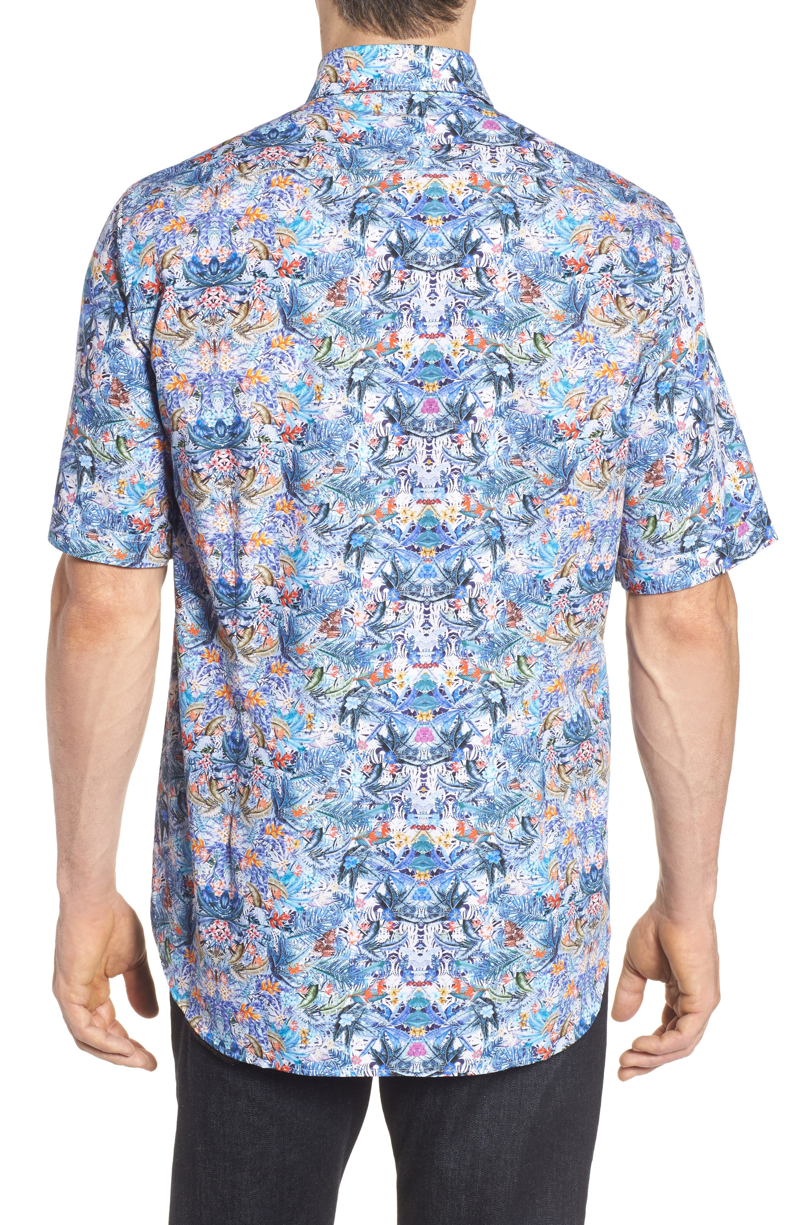 Paul&Shark Regular Fit Tropical Print Sport Shirt,                             Alternate thumbnail 2, color,                             101