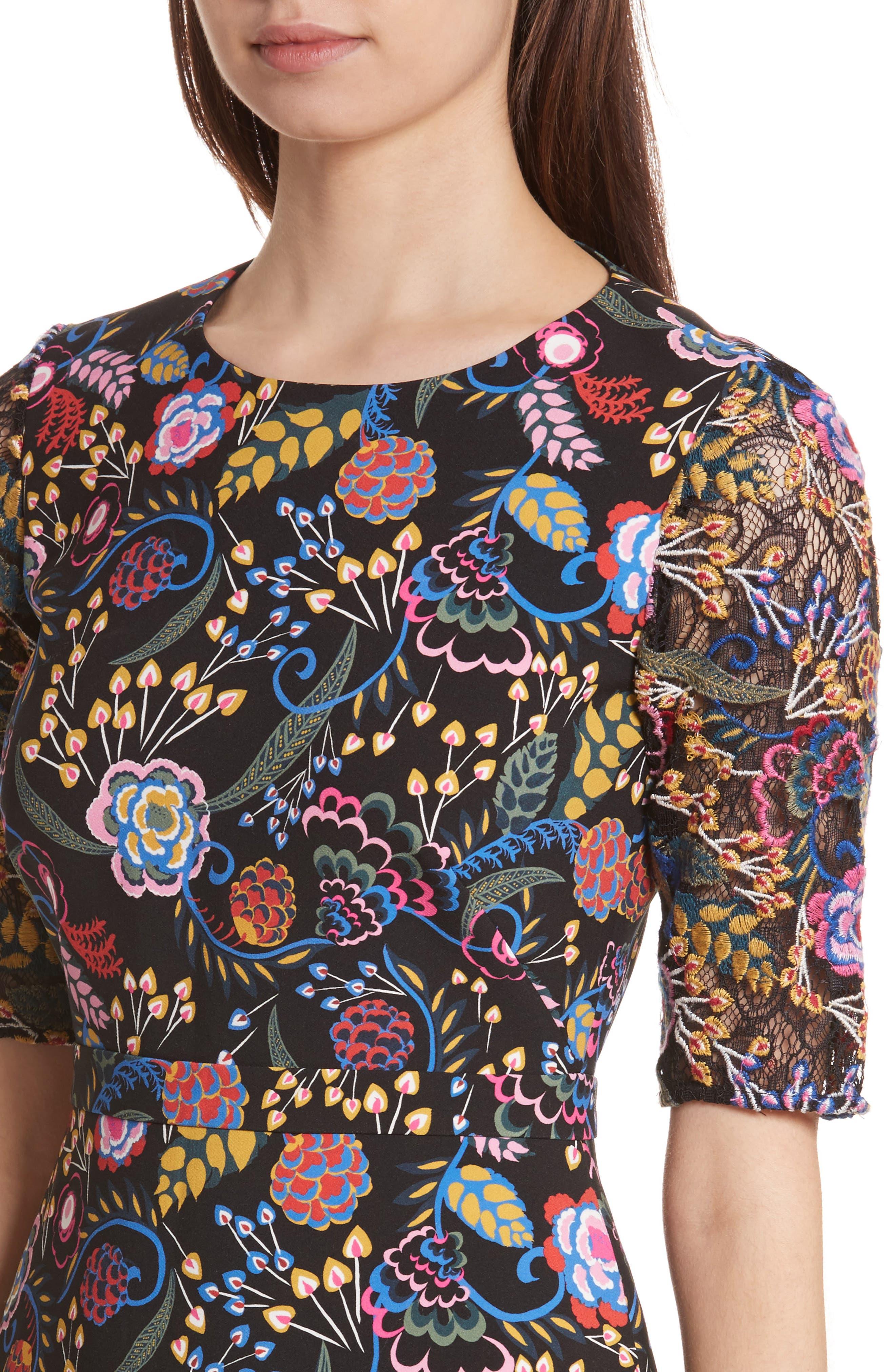 Celia Floral Print Dress,                             Alternate thumbnail 4, color,                             005