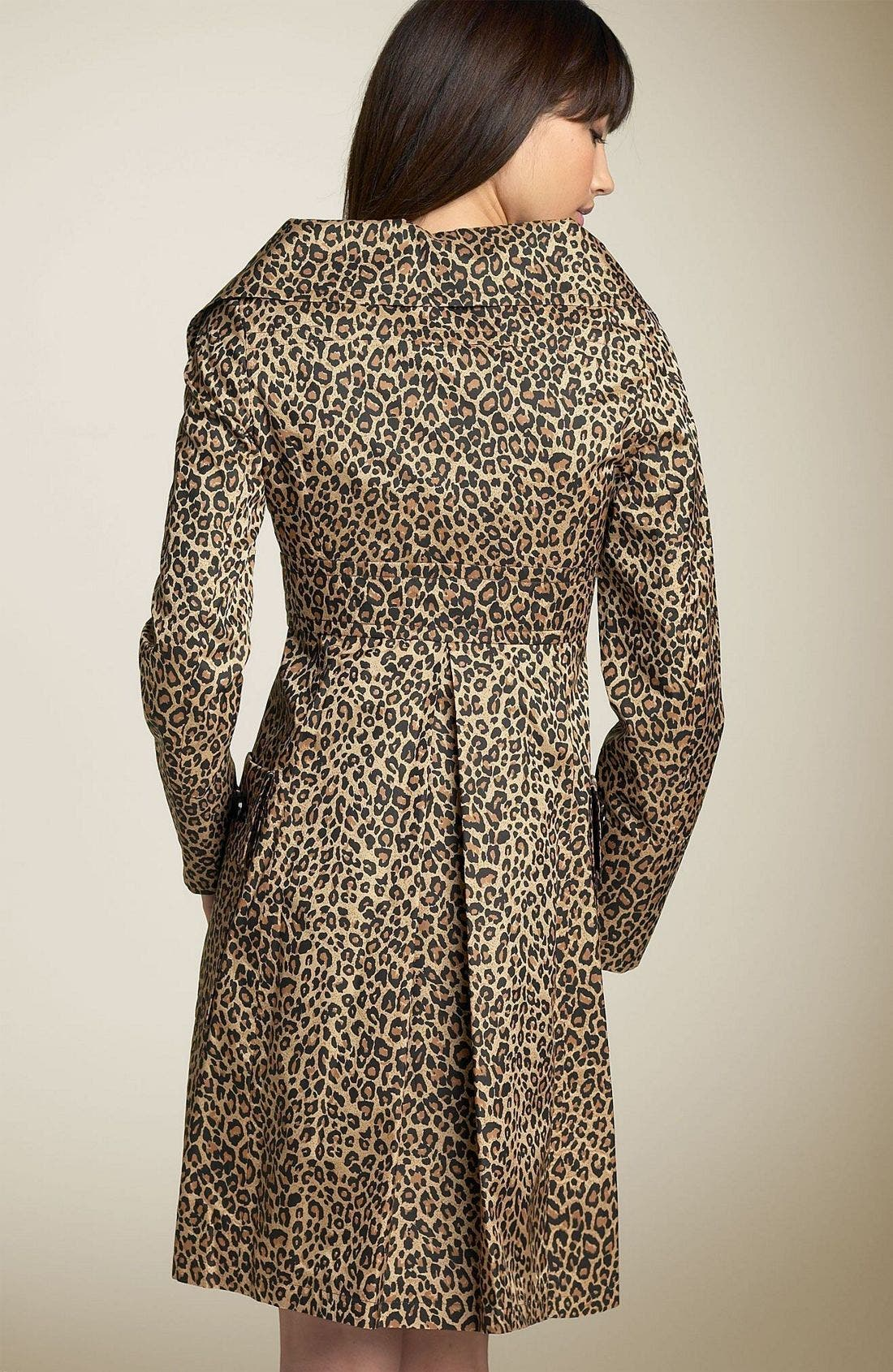 Leopard Trench Coat,                             Alternate thumbnail 2, color,                             LEO