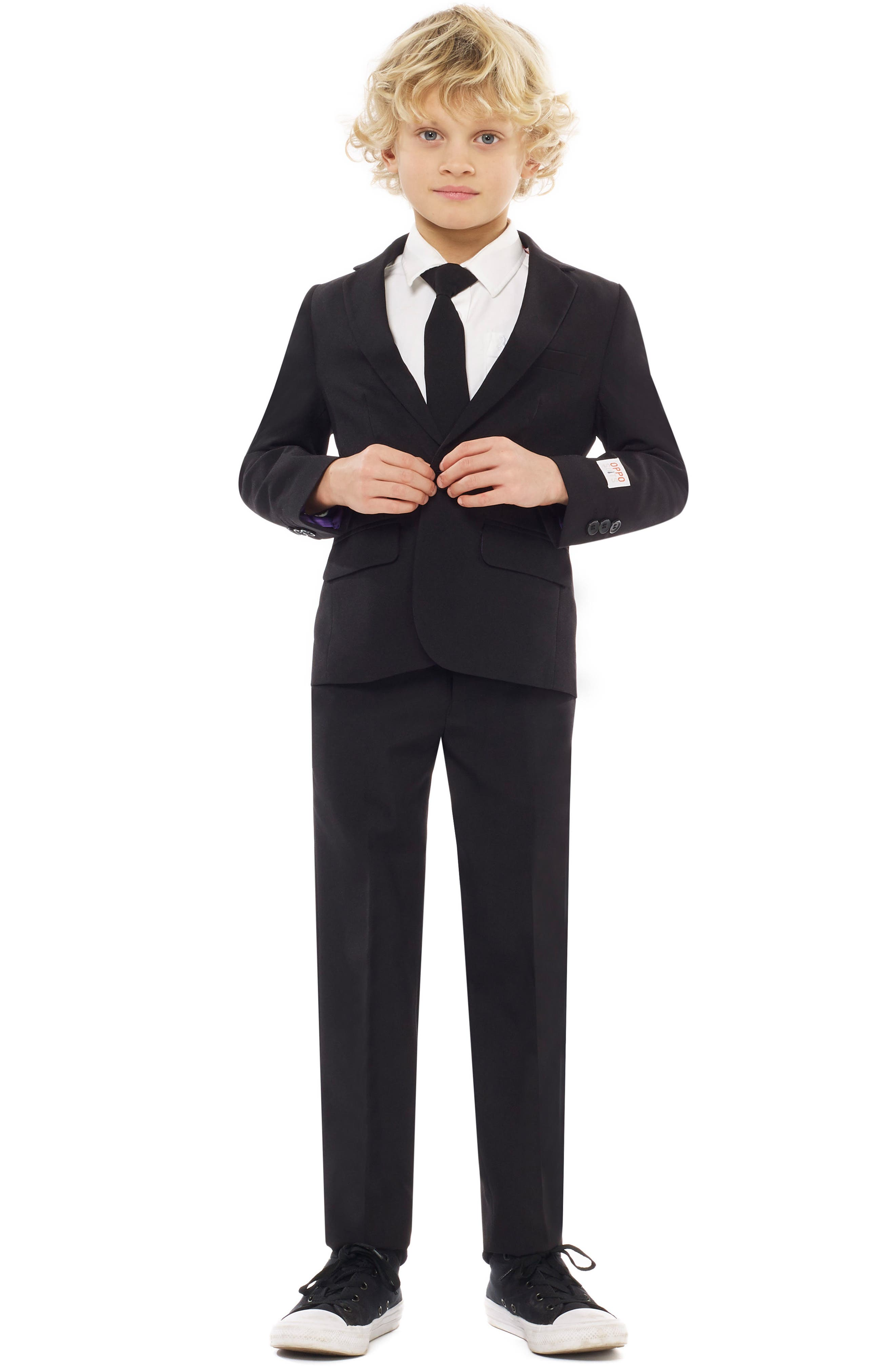 Knight Two-Piece Suit with Tie,                         Main,                         color, BLACK