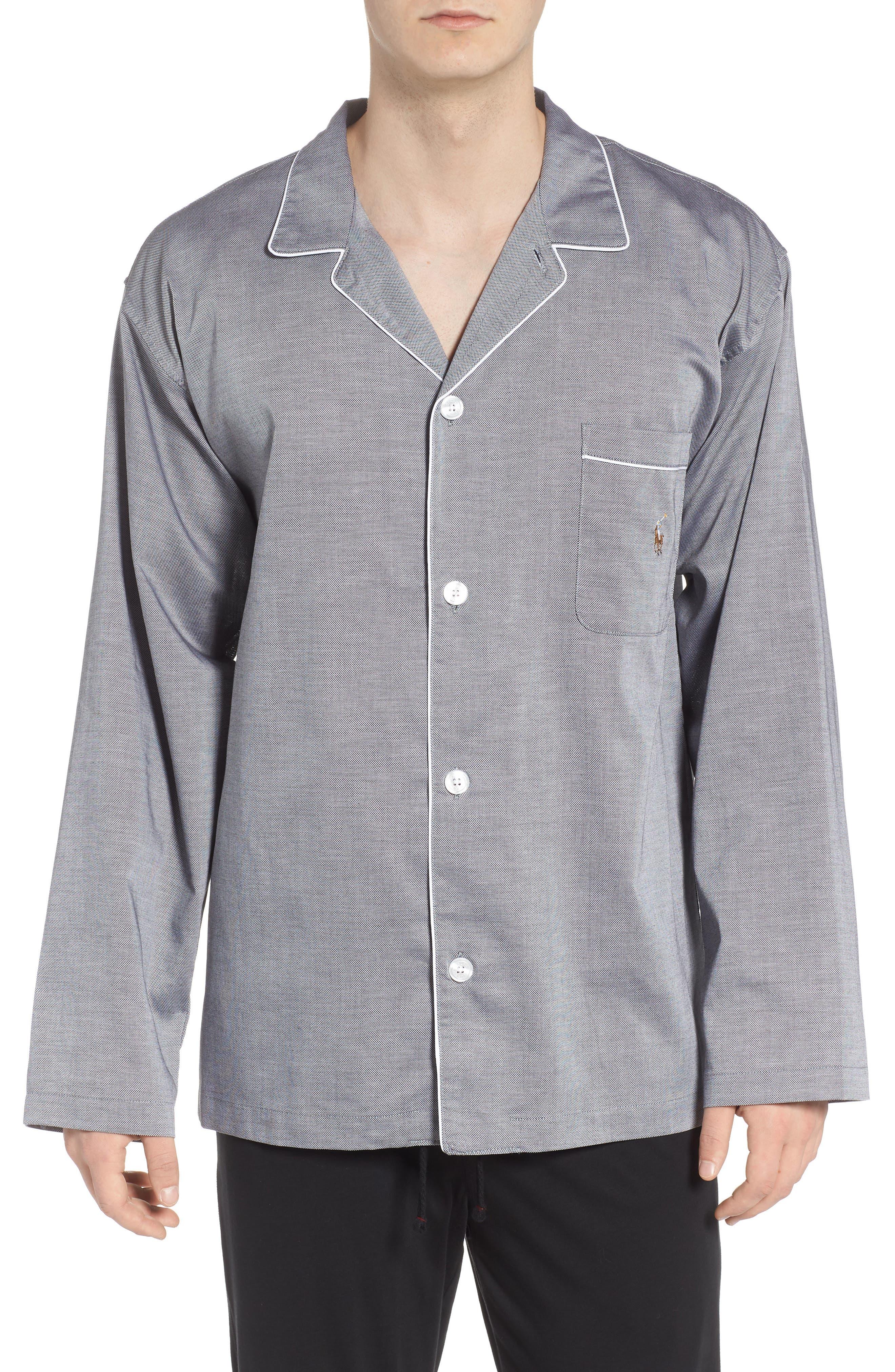Pajama Top,                             Alternate thumbnail 2, color,                             BLACK ROYAL OXFORD