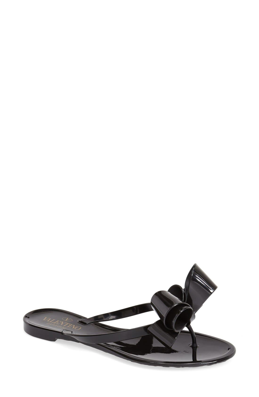 Couture Bow Thong Sandal,                             Main thumbnail 1, color,