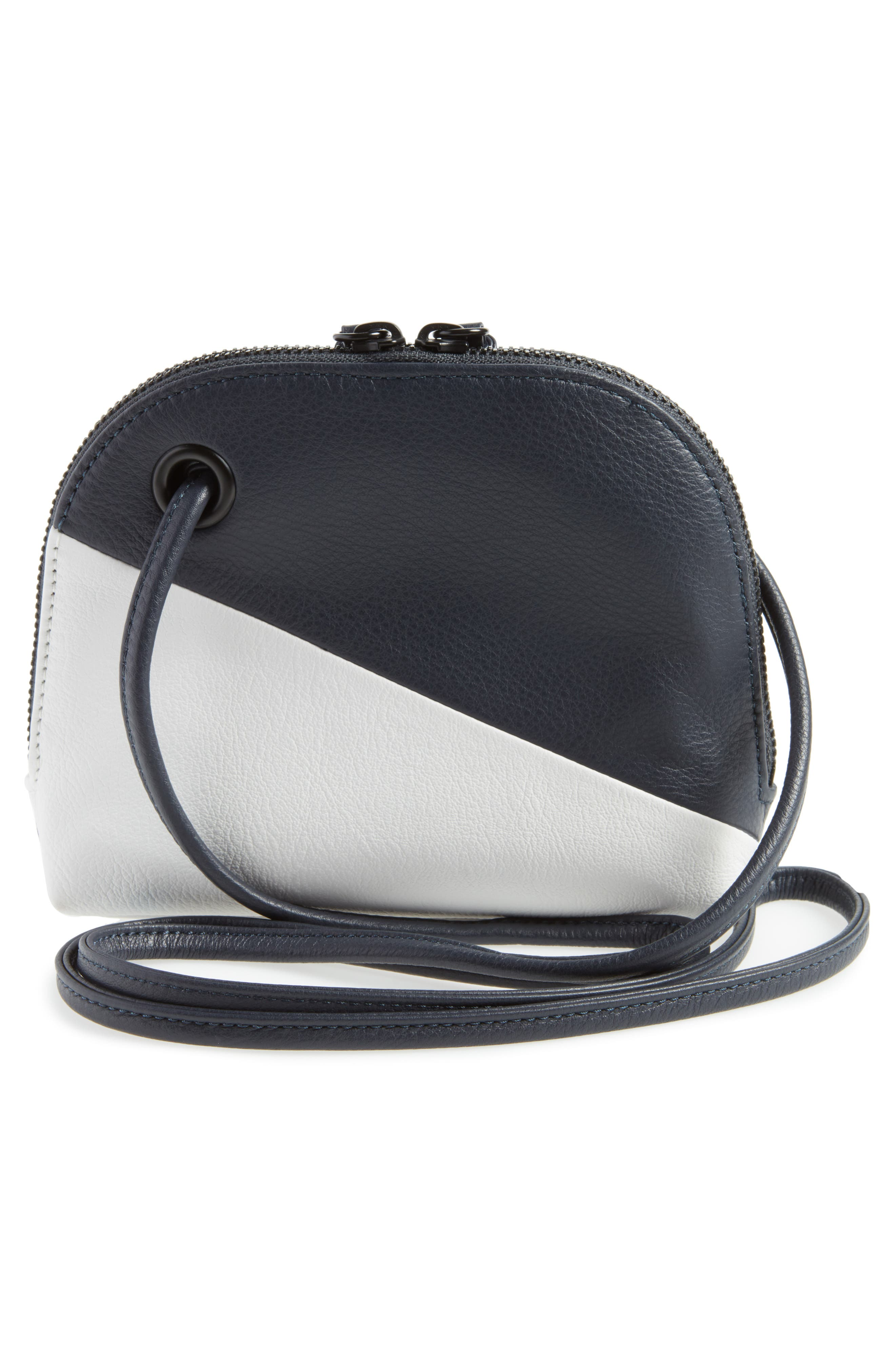 Kay Colorblock Leather Crossbody,                             Alternate thumbnail 3, color,                             NAVY/ WHITE
