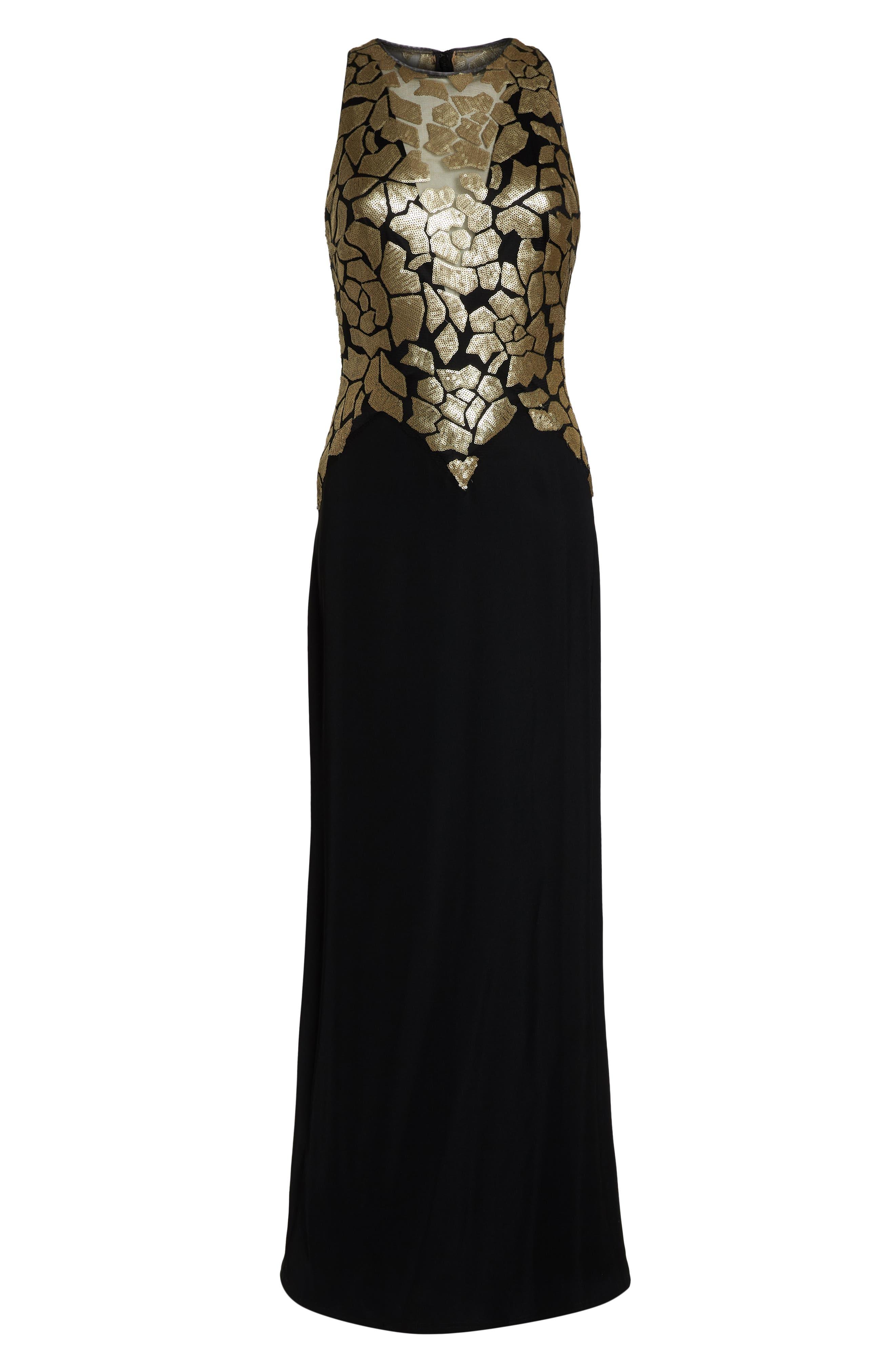 Sleeveless Sequin & Crepe Gown,                             Alternate thumbnail 7, color,                             BLACK/ GOLD