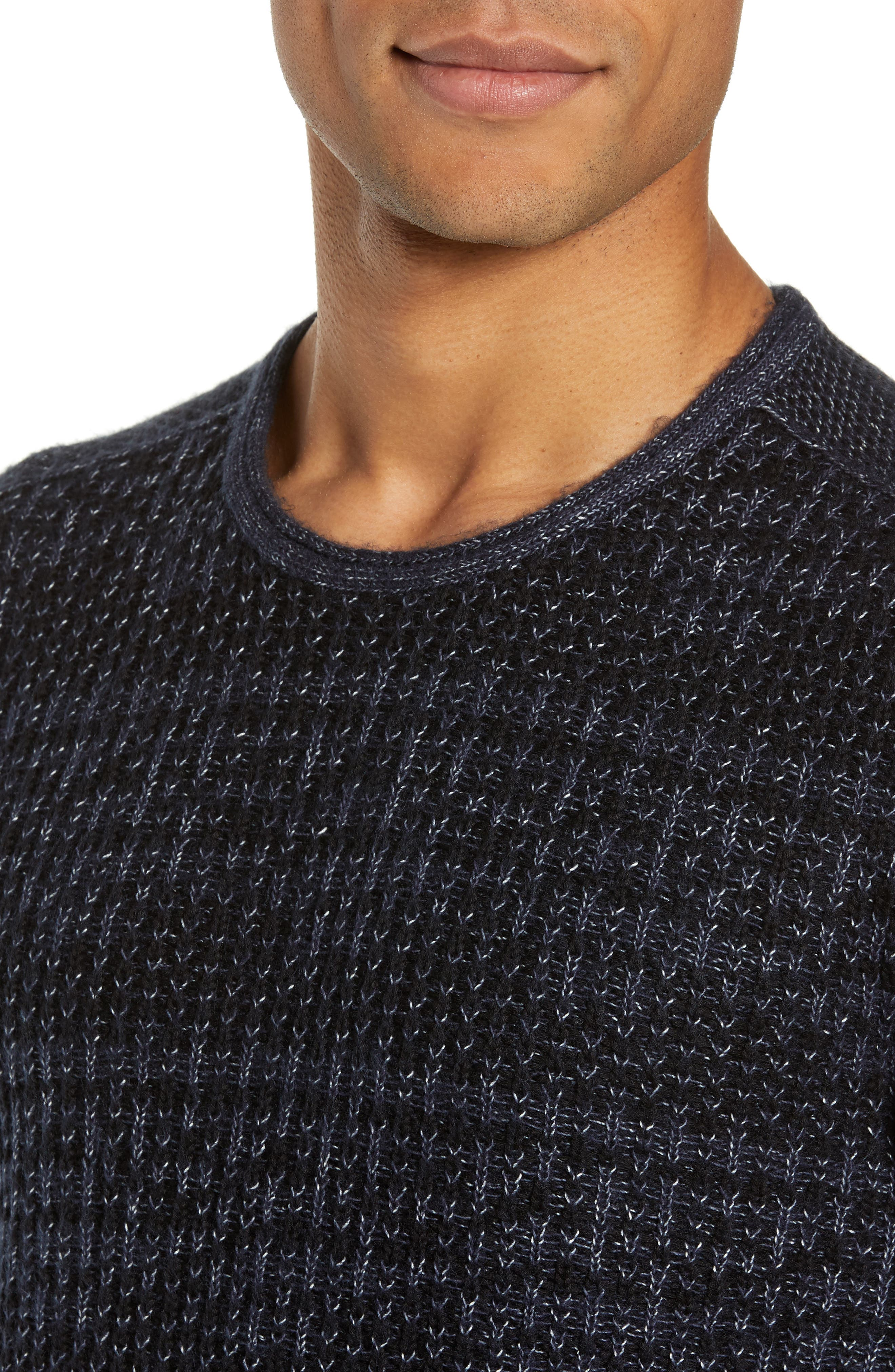 Mix Stitch Regular Fit Cotton Blend Sweater,                             Alternate thumbnail 4, color,                             INK BLUE
