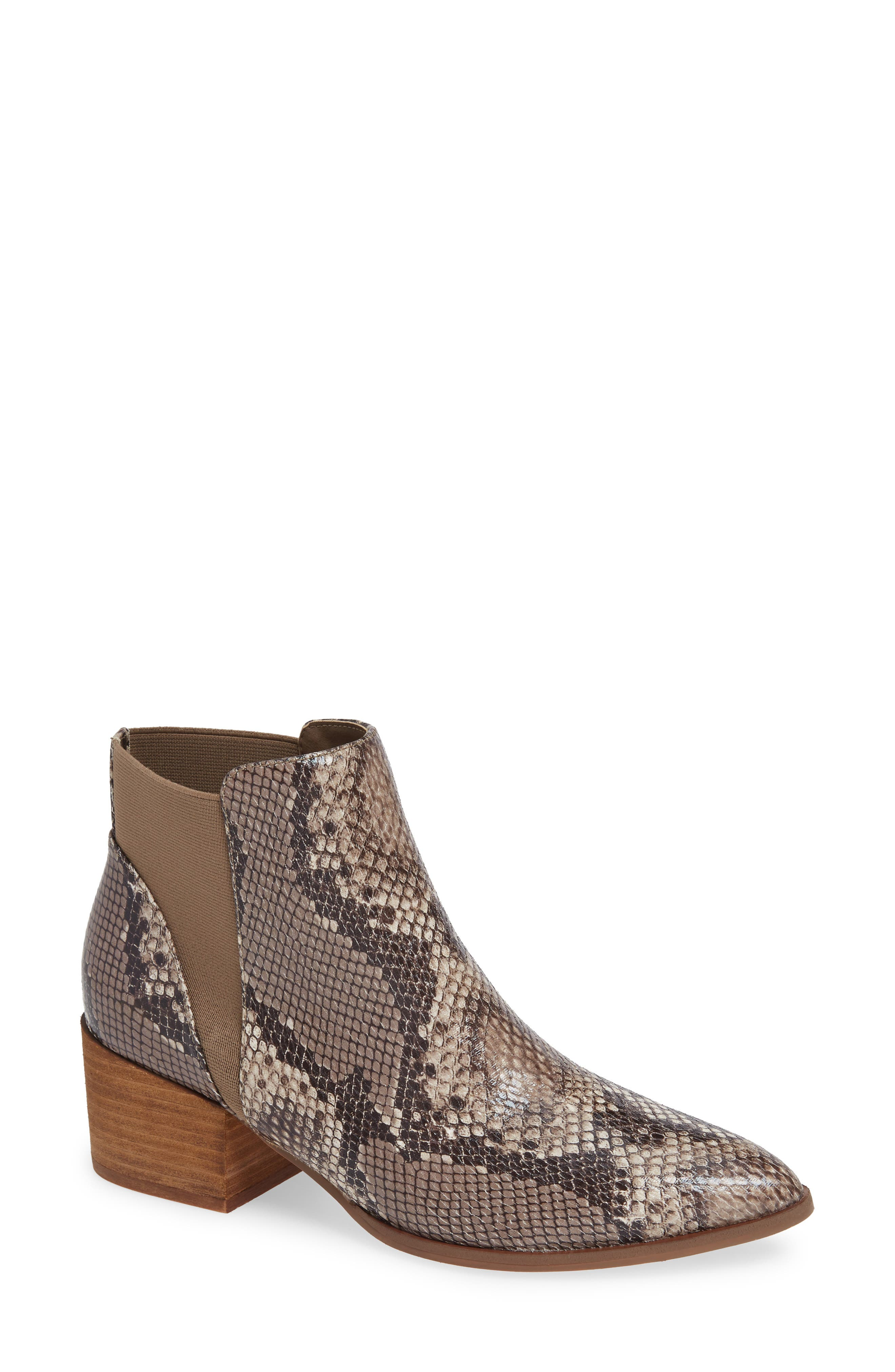 Finn Bootie,                             Main thumbnail 1, color,                             BROWN SNAKE PRINT LEATHER