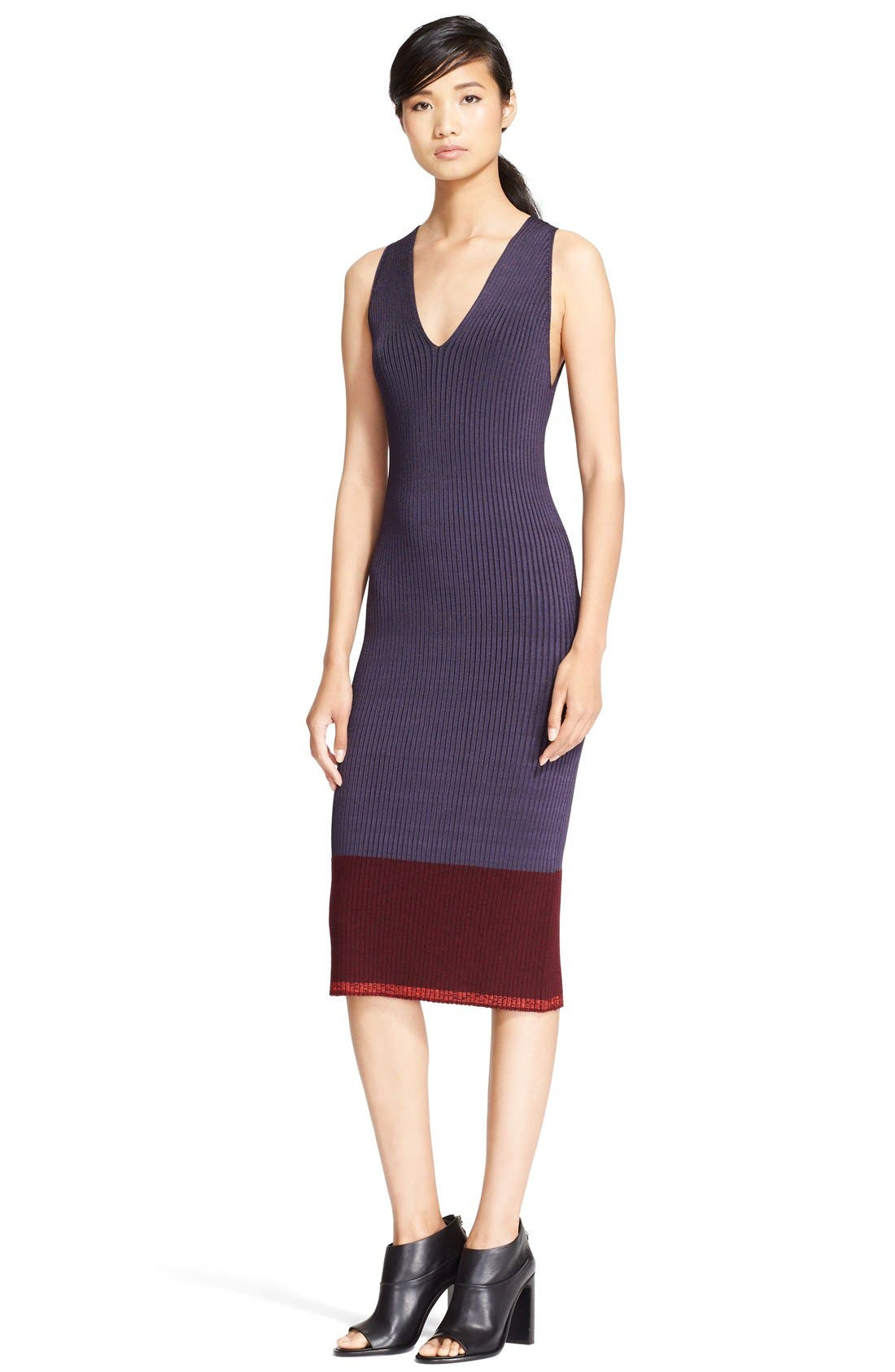 'Kristin' Colorblock Rib Knit Midi Dress,                             Main thumbnail 1, color,                             020