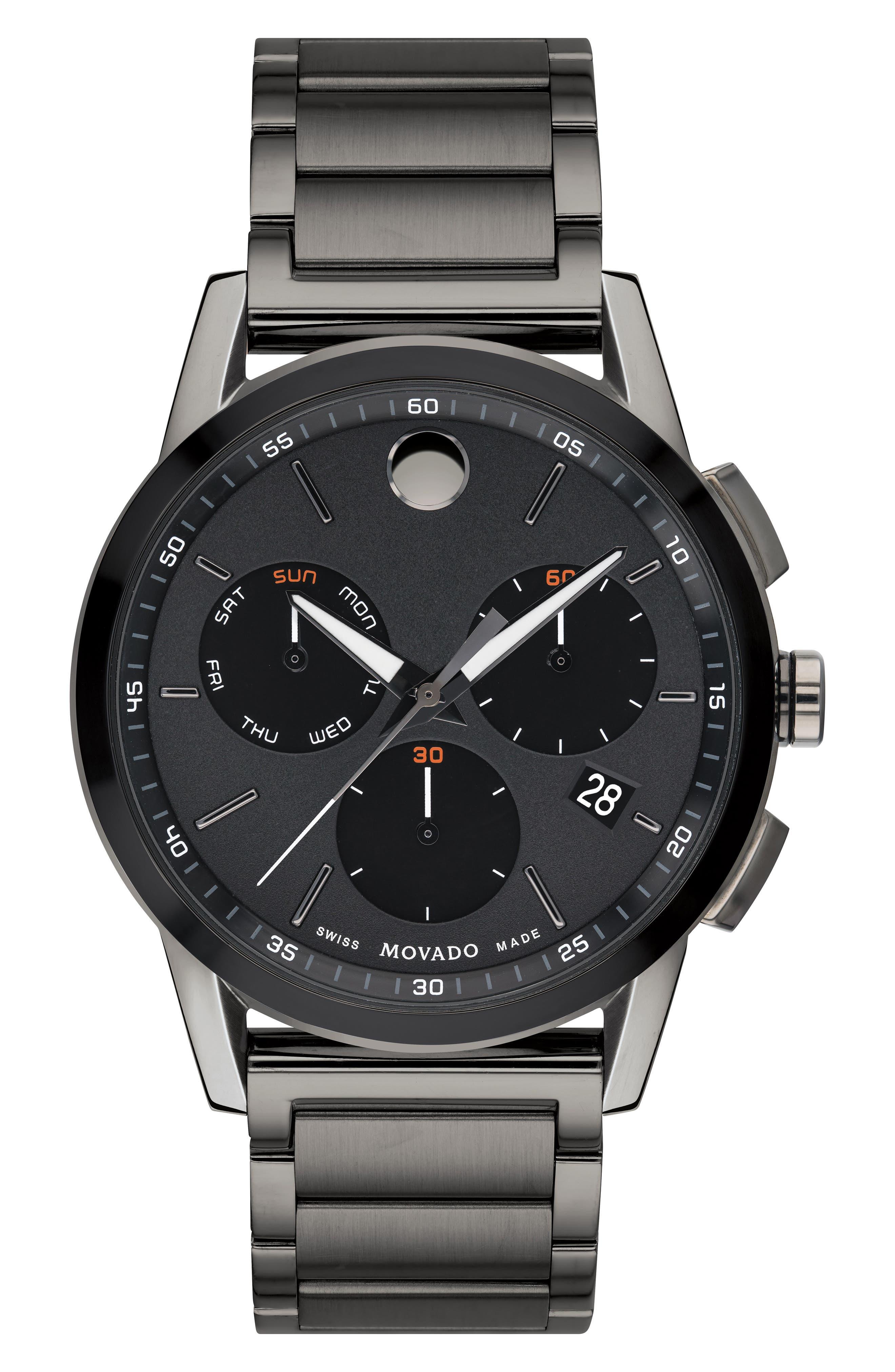 Museum Sport Chronograph Bracelet Watch, 43mm,                             Main thumbnail 1, color,                             GUNMETAL/ BLACK