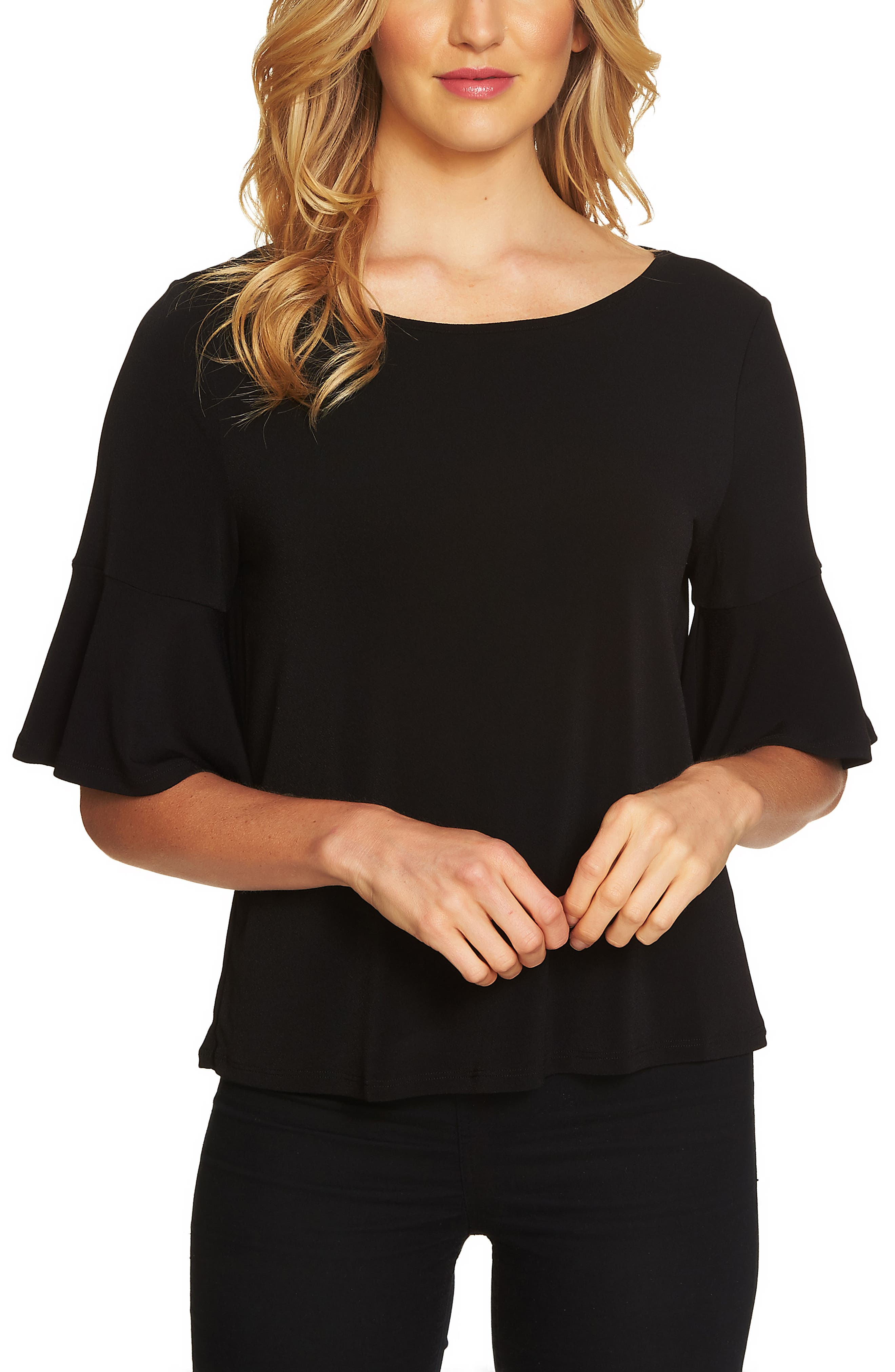 Ruffle Sleeve Crepe Knit Top,                             Alternate thumbnail 3, color,                             001