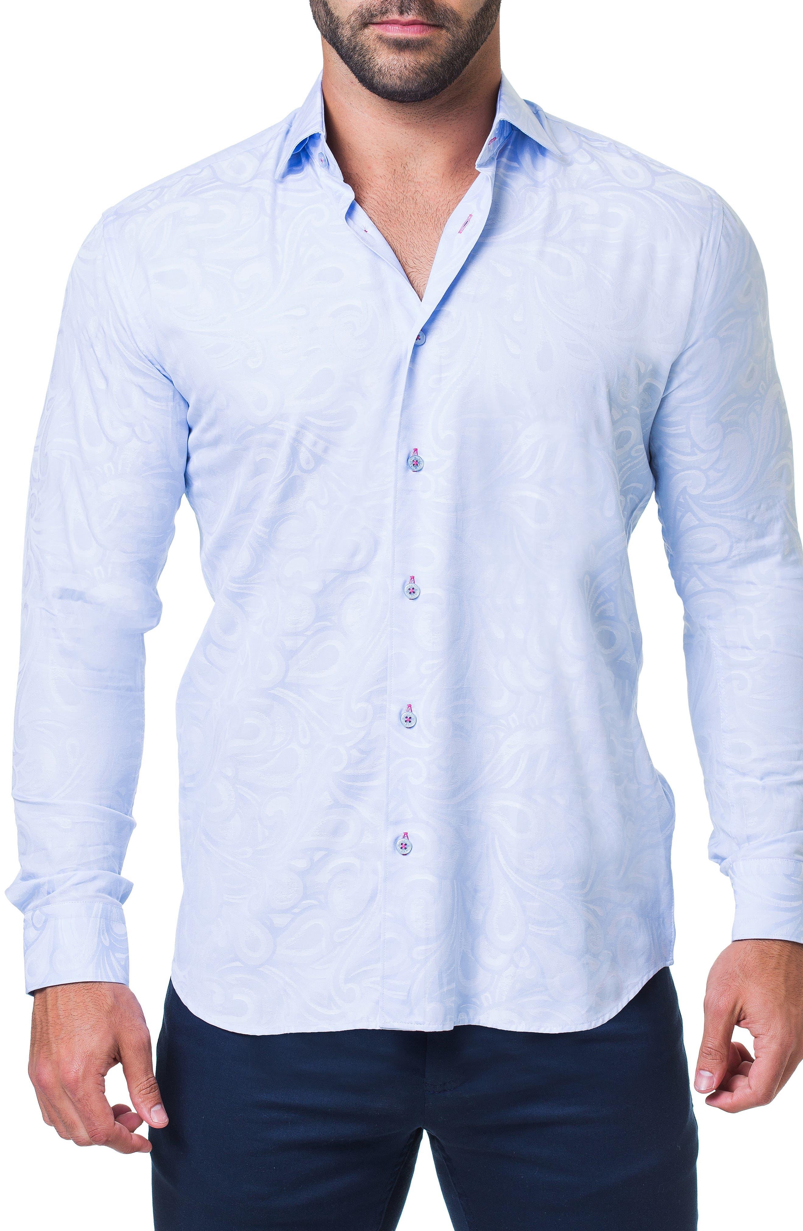 Fibonacci Flow Trim Fit Sport Shirt,                         Main,                         color, BLUE