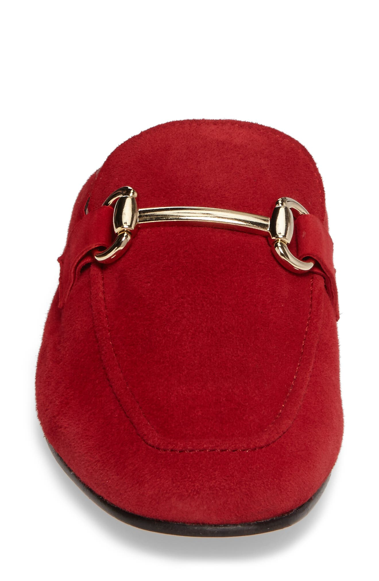 Sorrento Loafer Mule,                             Alternate thumbnail 4, color,                             RED SUEDE