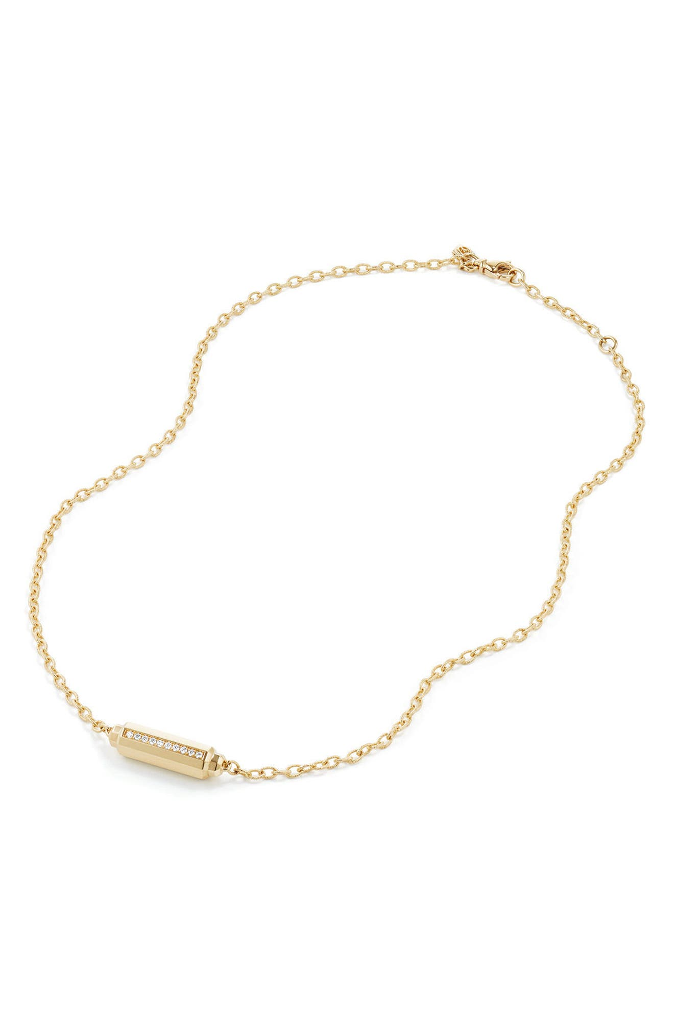 Barrels Single Station Necklace with Diamonds in 18K Gold,                             Alternate thumbnail 2, color,                             YELLOW GOLD