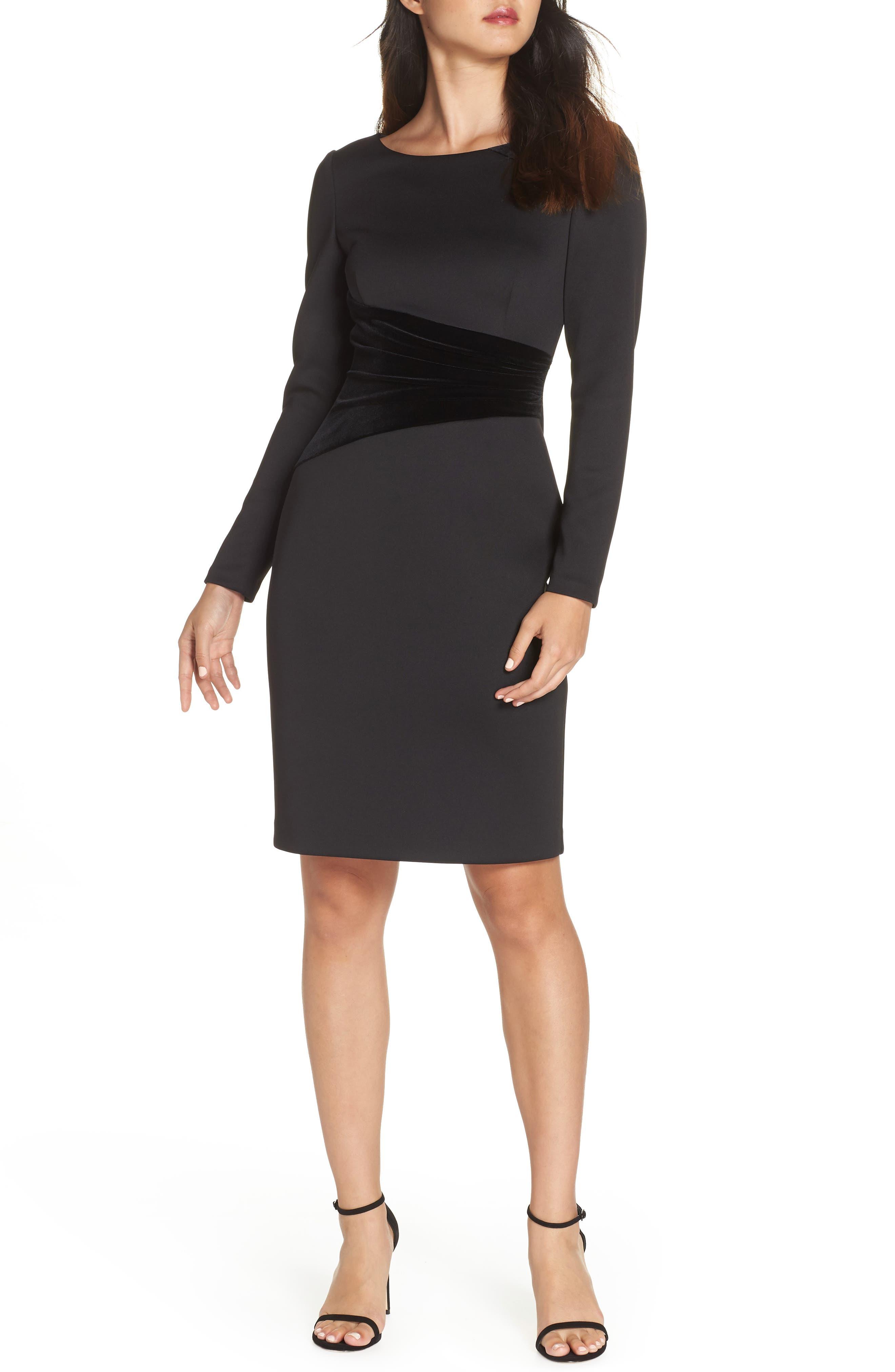 Contrast Dress,                             Main thumbnail 1, color,                             BLACK