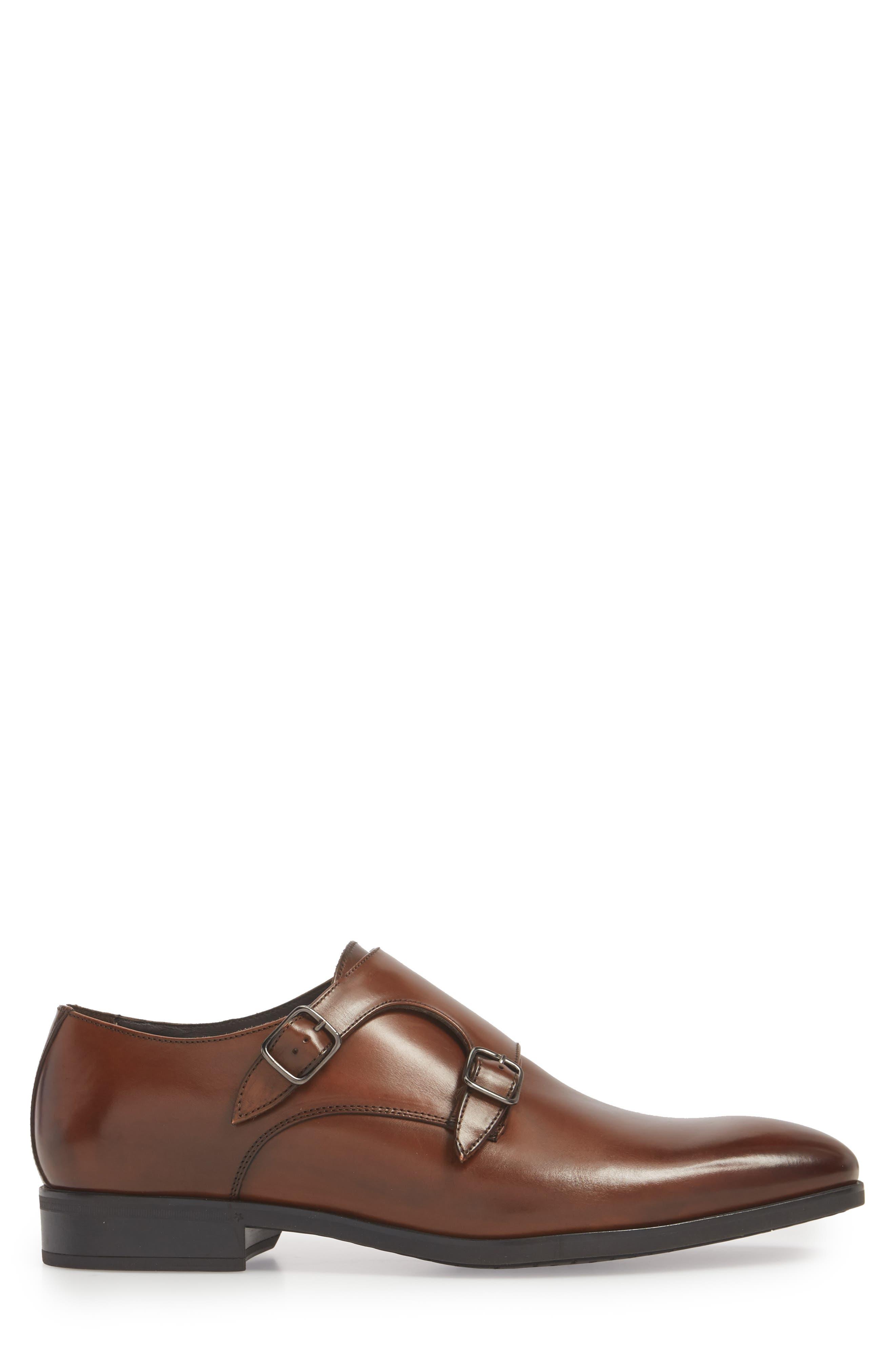 Benjamin Double Monk Strap Shoe,                             Alternate thumbnail 3, color,                             TMORO LEATHER