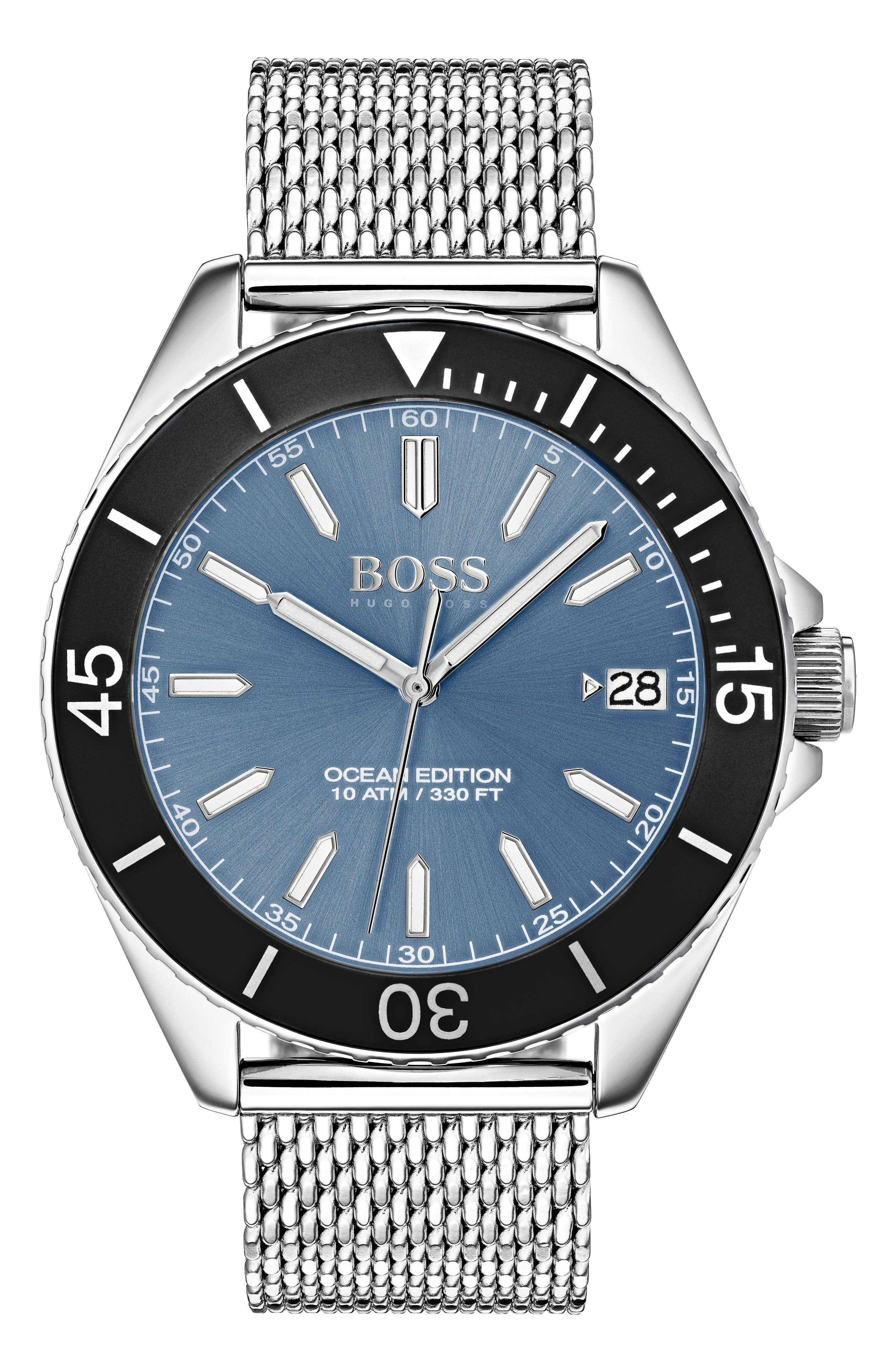 Ocean Mesh Strap Watch, 42mm,                         Main,                         color,