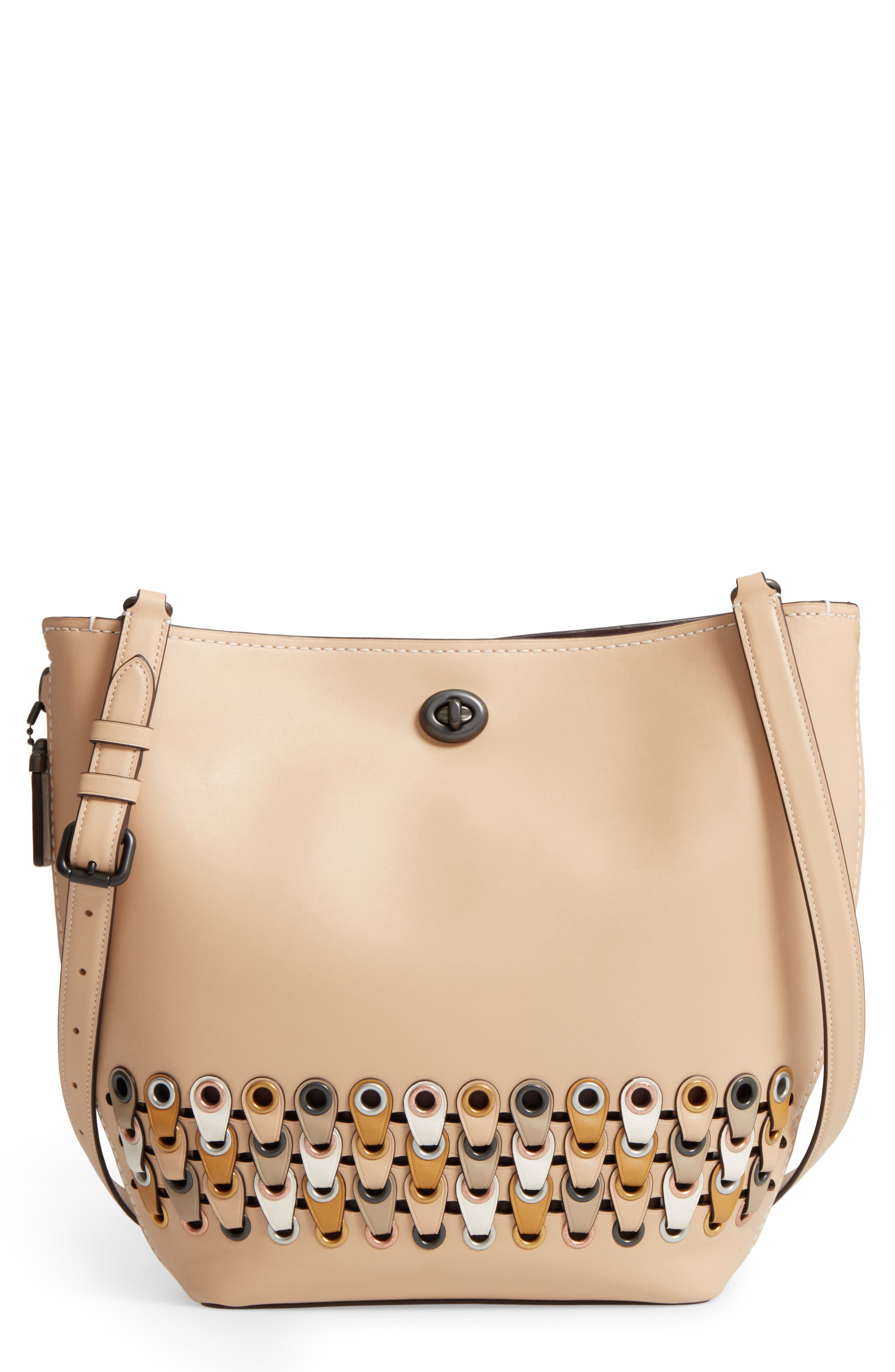 Linked Leather Tote,                         Main,                         color, 249