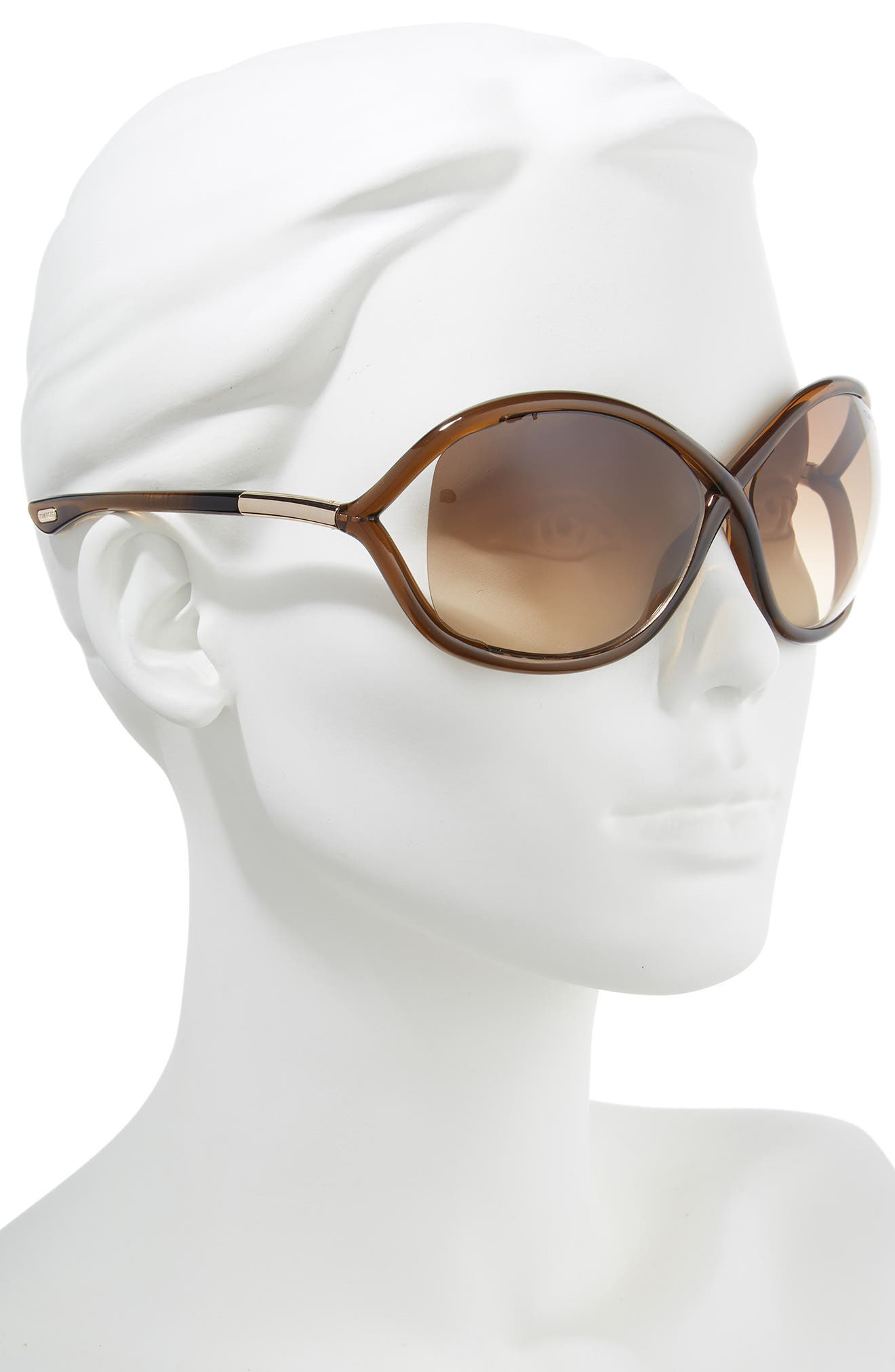 'Whitney' 64mm Open Side Sunglasses,                             Alternate thumbnail 2, color,                             DARK BROWN