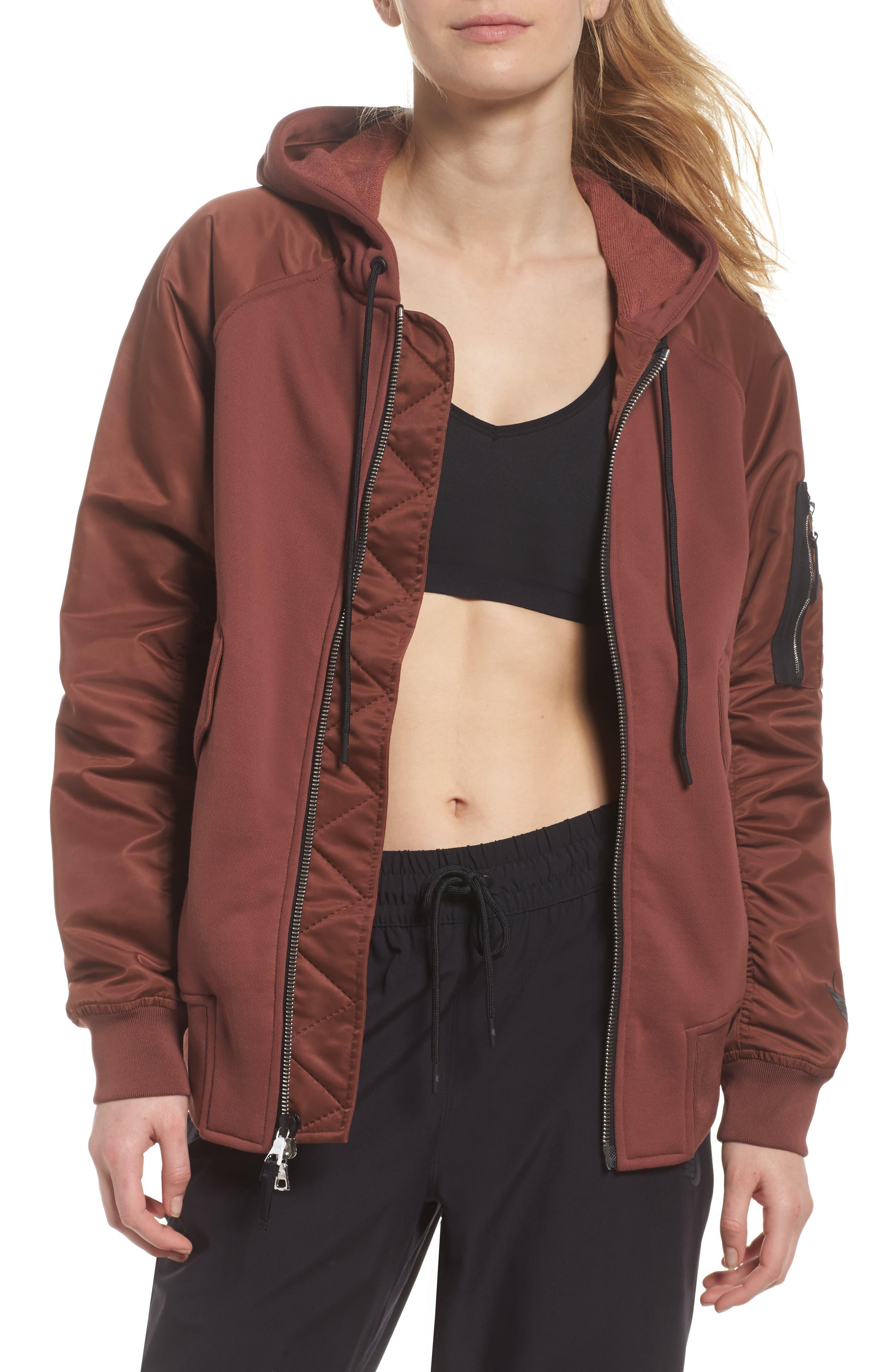 NikeLab Women's Mixed Media Bomber Jacket,                             Main thumbnail 2, color,