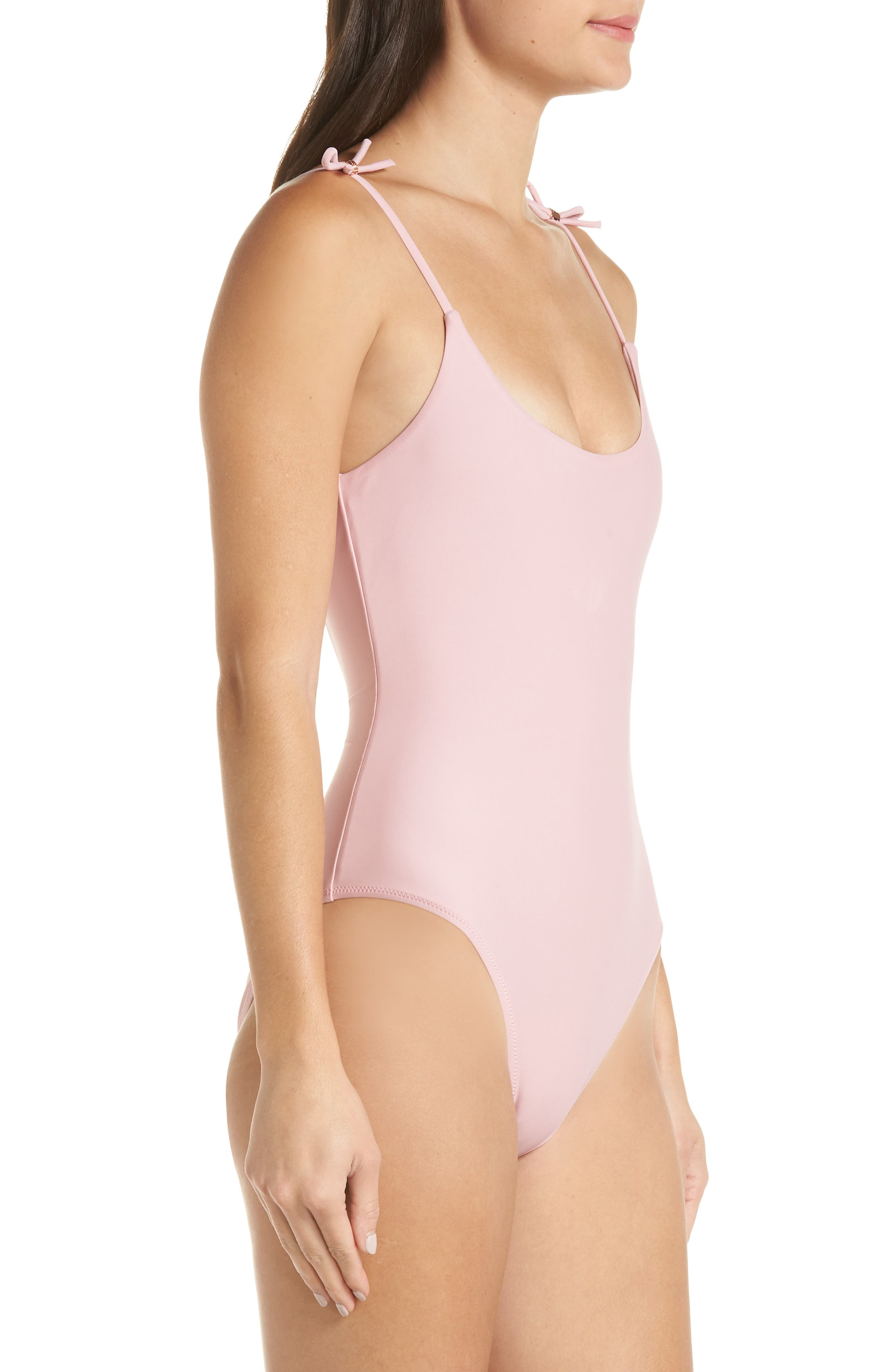 Ottino Velvet One-Piece Swimsuit,                             Alternate thumbnail 3, color,                             PALE PINK