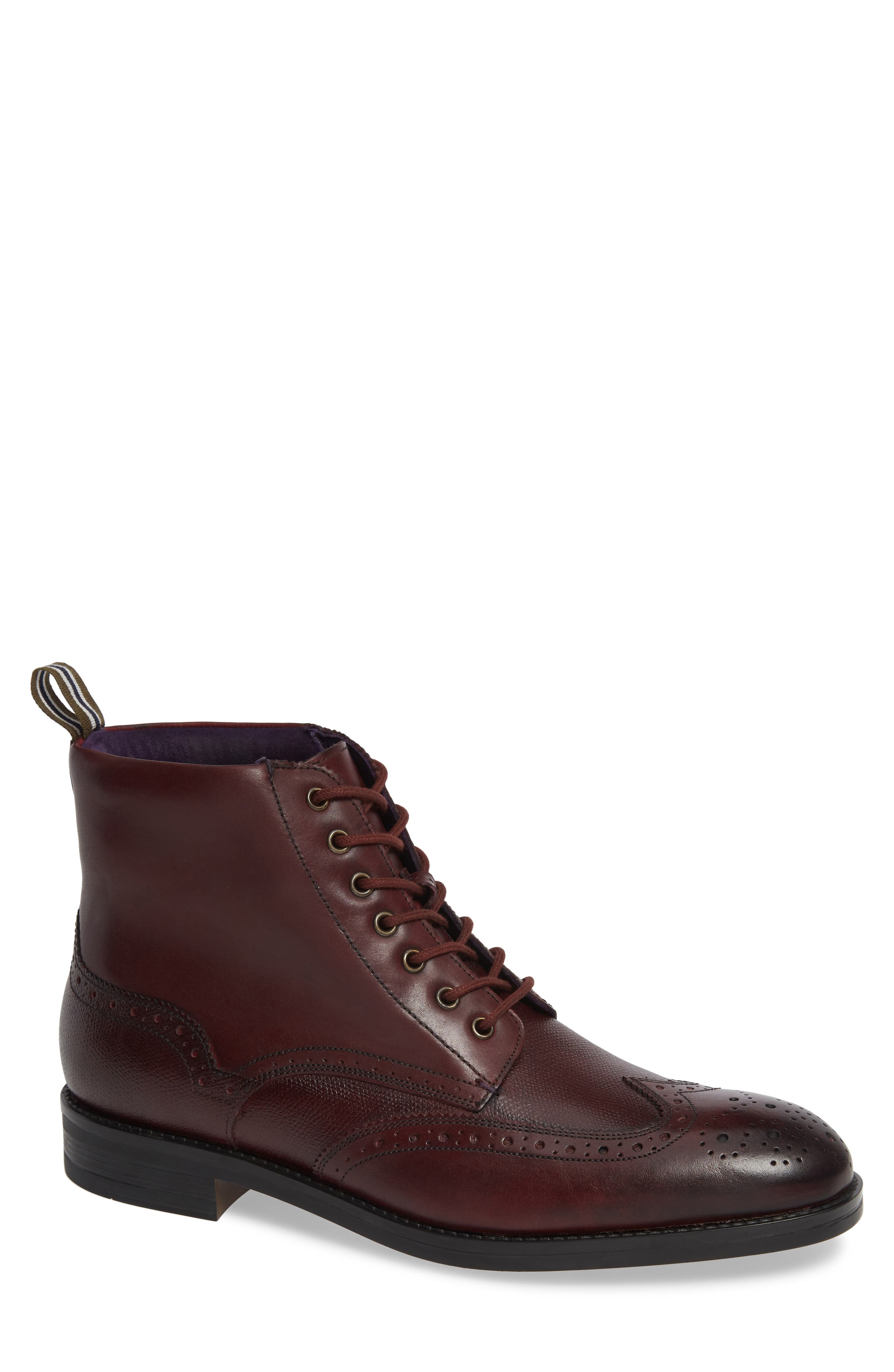 Brogue Ankle Boot,                             Main thumbnail 1, color,                             DARK RED LEATHER