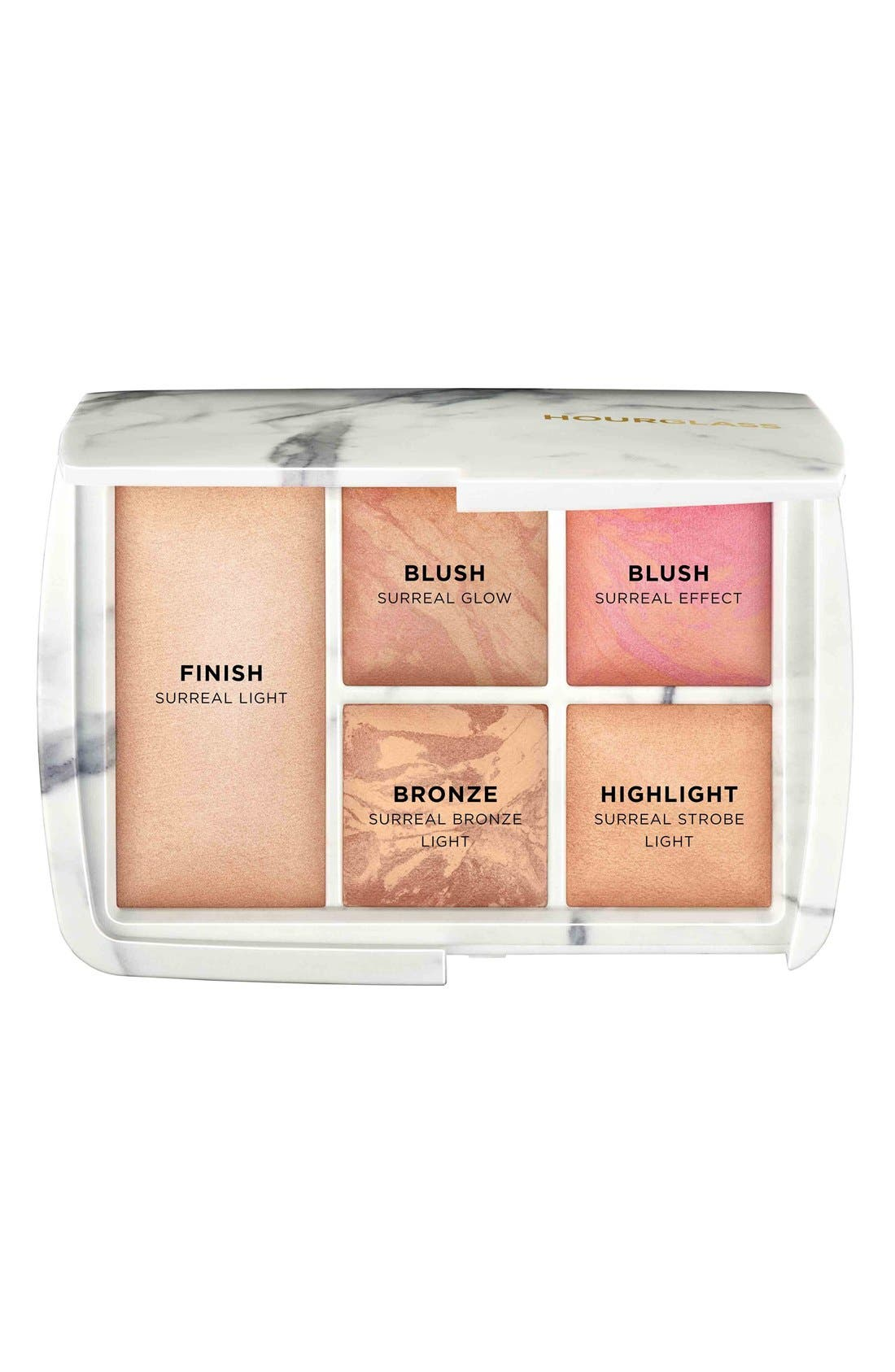 HOURGLASS,                             Ambient<sup>®</sup> Lighting Surreal Light Blush, Bronzer & Strobe Powder Palette,                             Alternate thumbnail 2, color,                             000