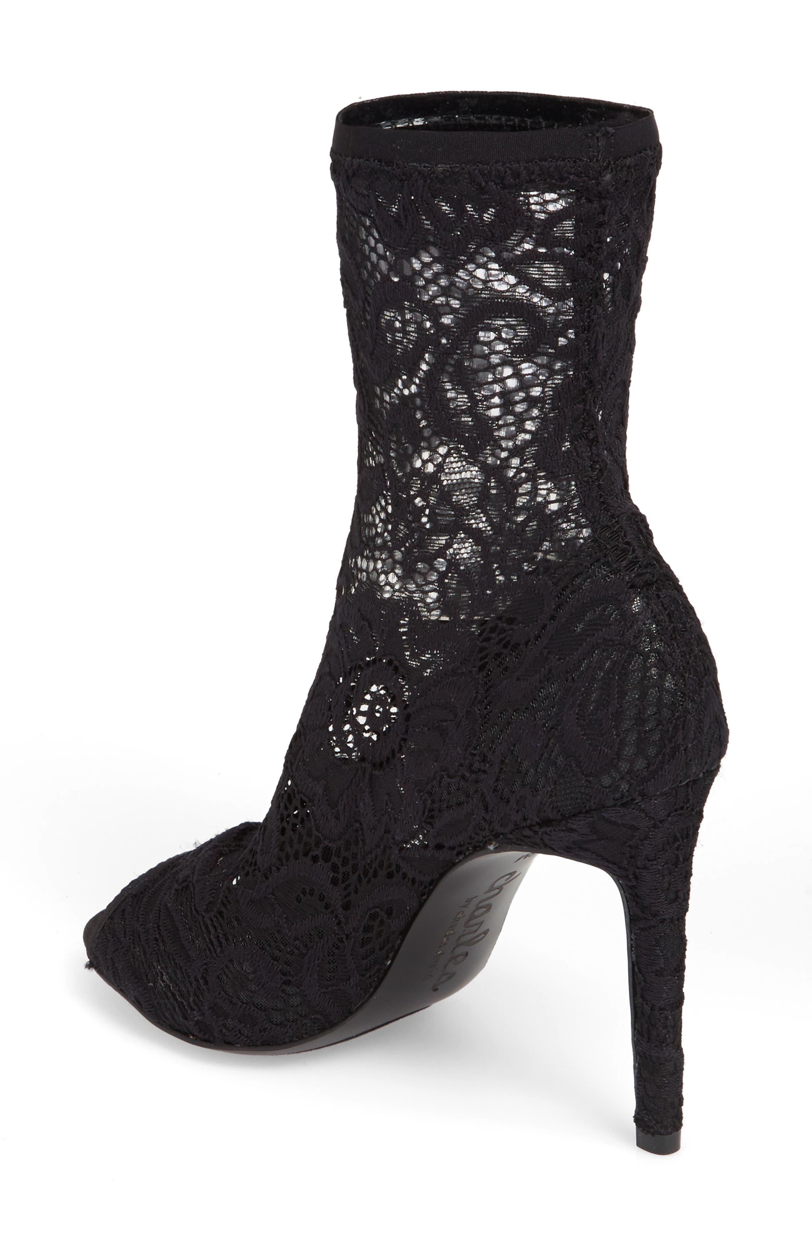 Imaginary Lace Sock Bootie,                             Alternate thumbnail 2, color,                             BLACK FABRIC