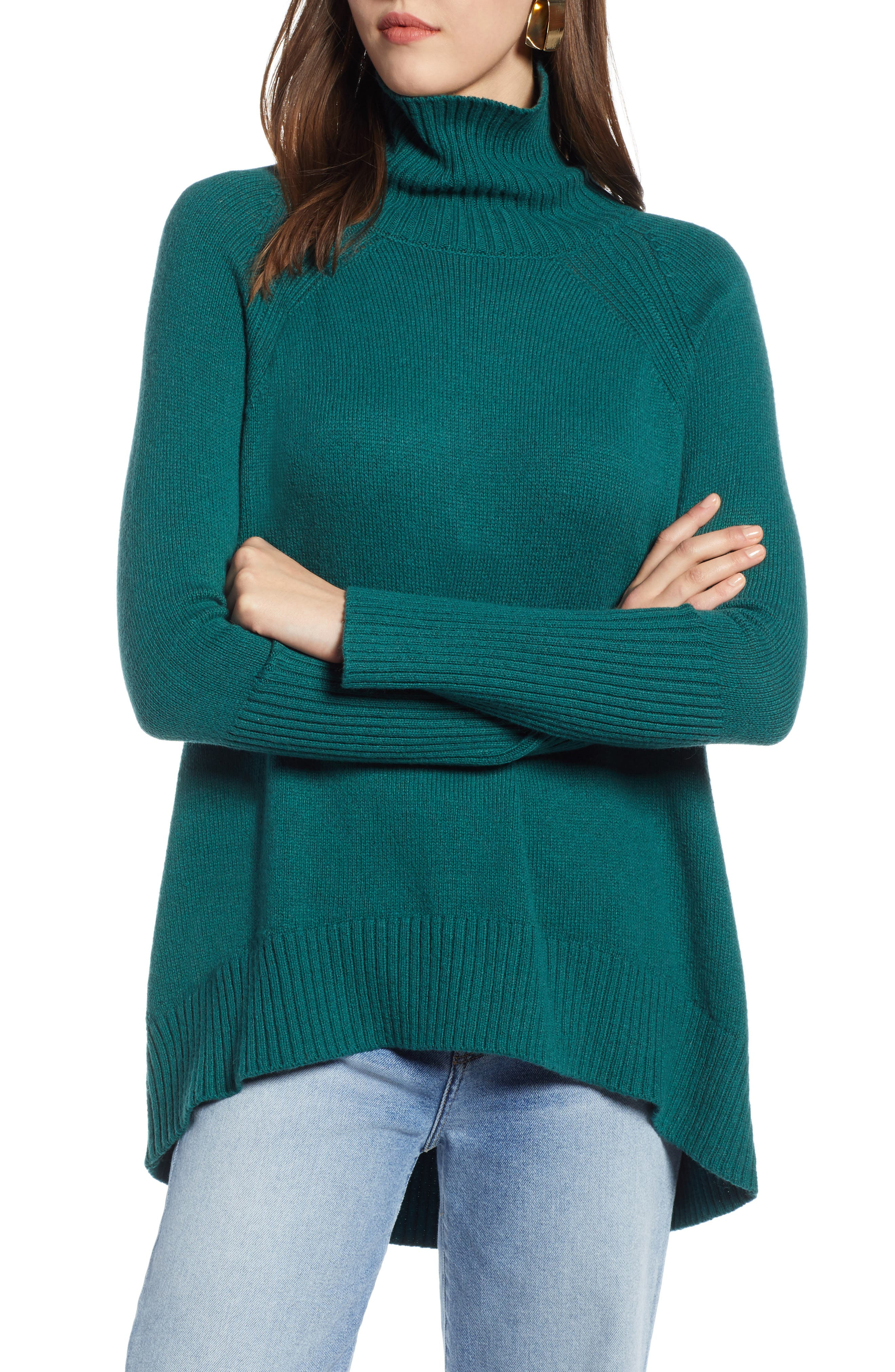 Plus Size Halogen High Low Oversize Wool Blend Sweater, Green