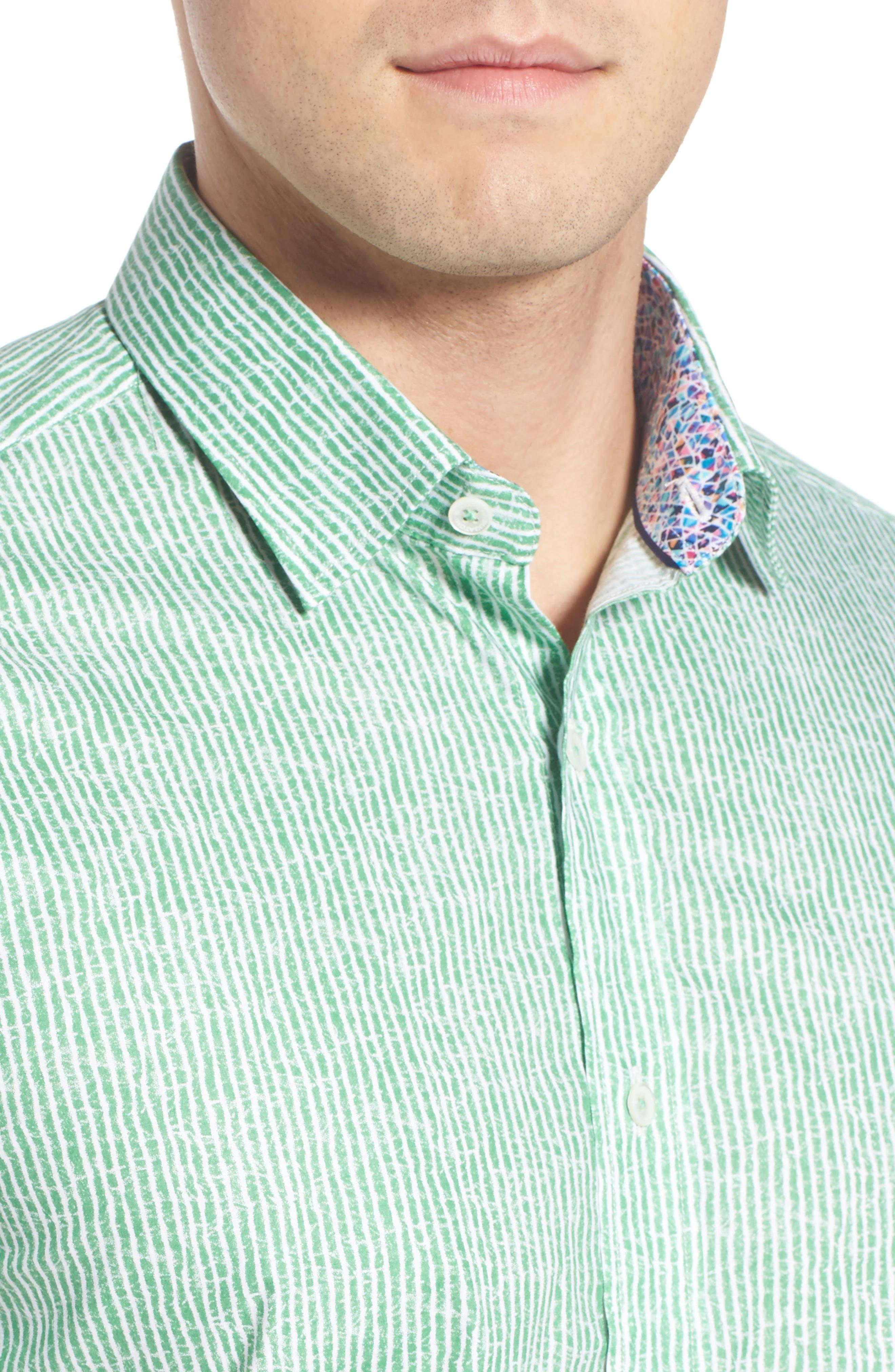 Shaped Fit Stripe Sport Shirt,                             Alternate thumbnail 27, color,