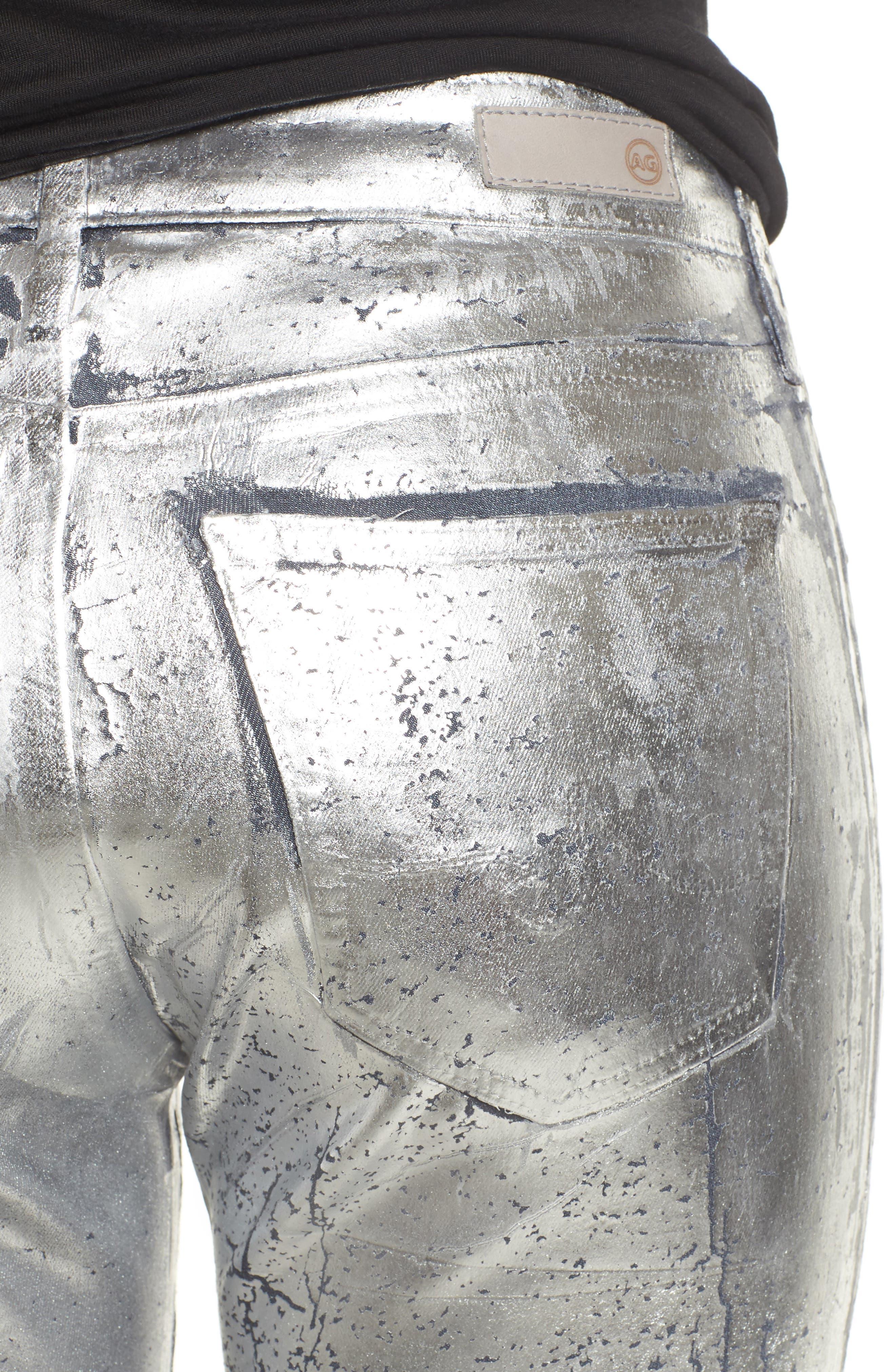 AG,                             Farrah High Waist Ankle Skinny Jeans,                             Alternate thumbnail 4, color,                             ICED SILVER