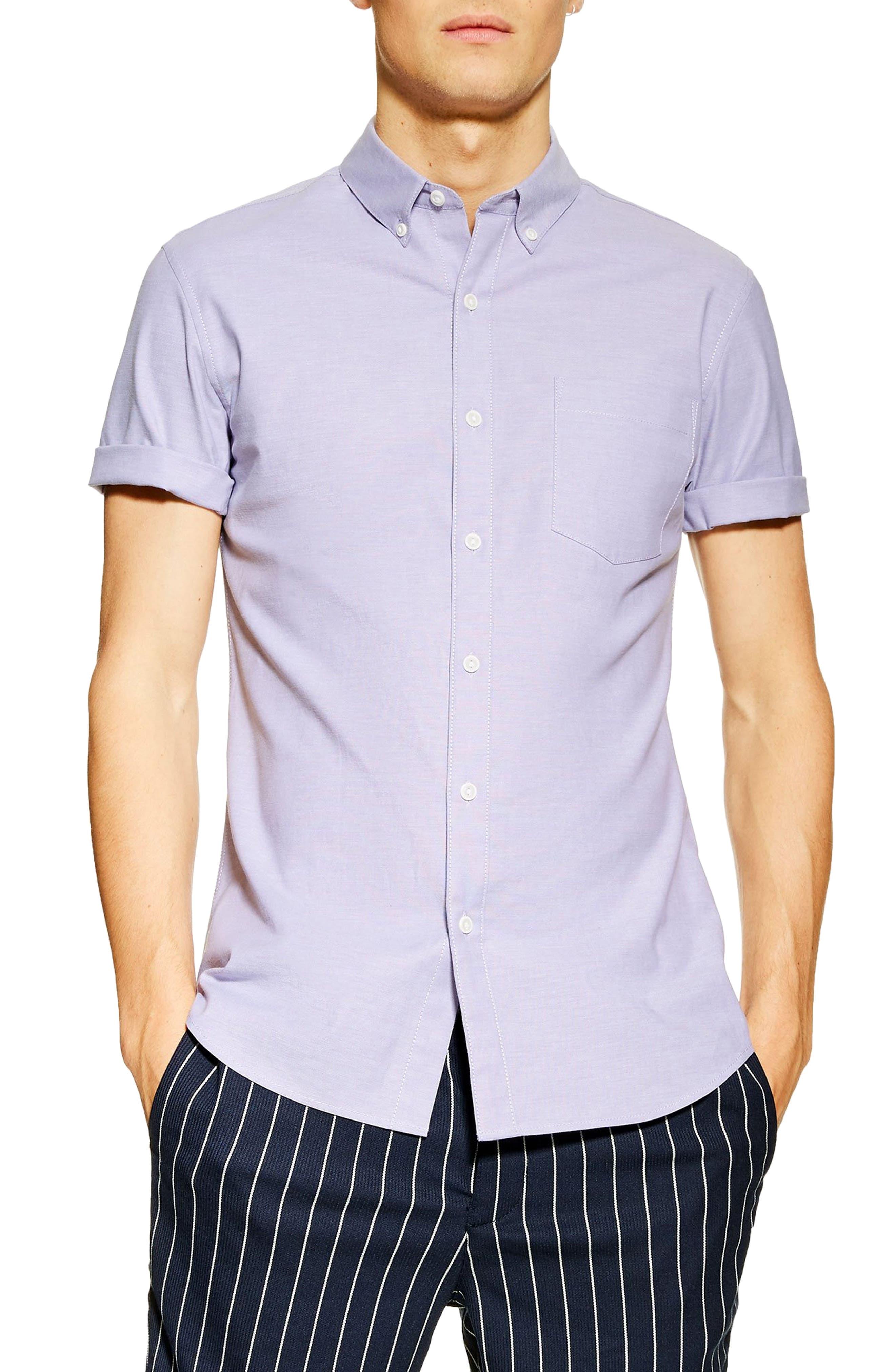 Topman Stretch Solid Sport Shirt, Purple