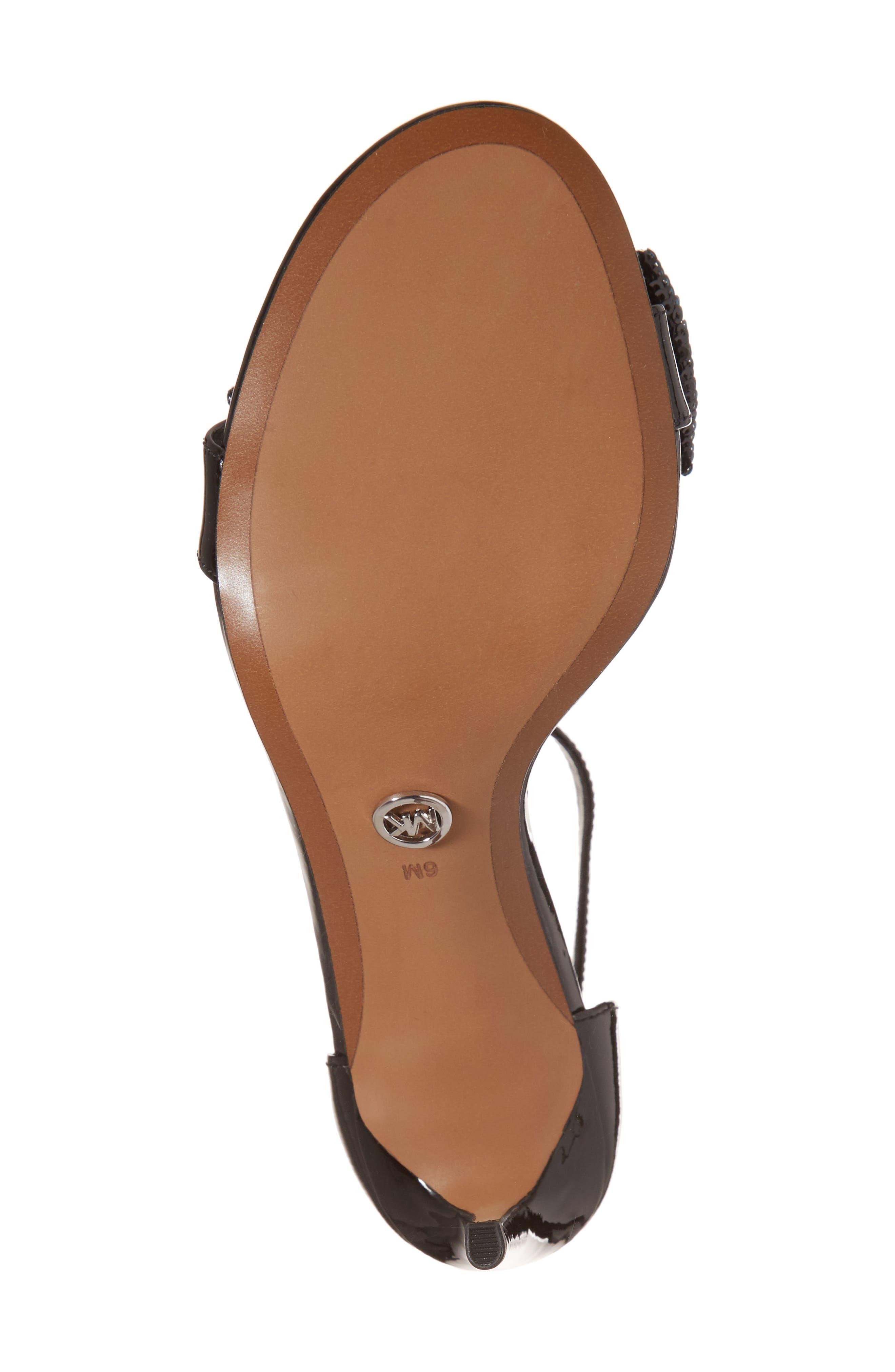 Paris Sequin Bow Sandal,                             Alternate thumbnail 6, color,                             001