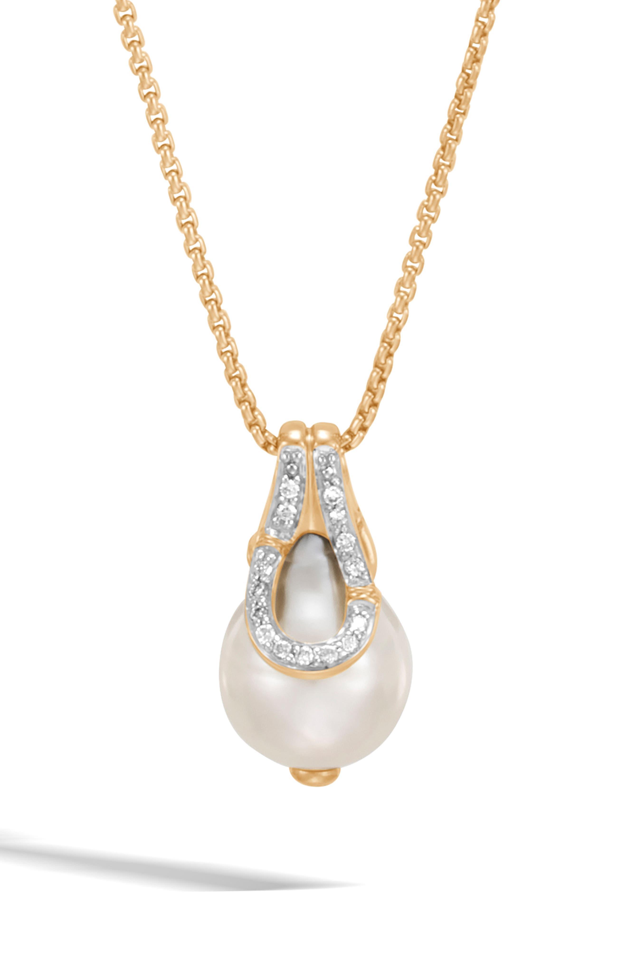 Bamboo Baroque Pearl & Diamond Pavé Pendant Necklace,                             Main thumbnail 1, color,                             710