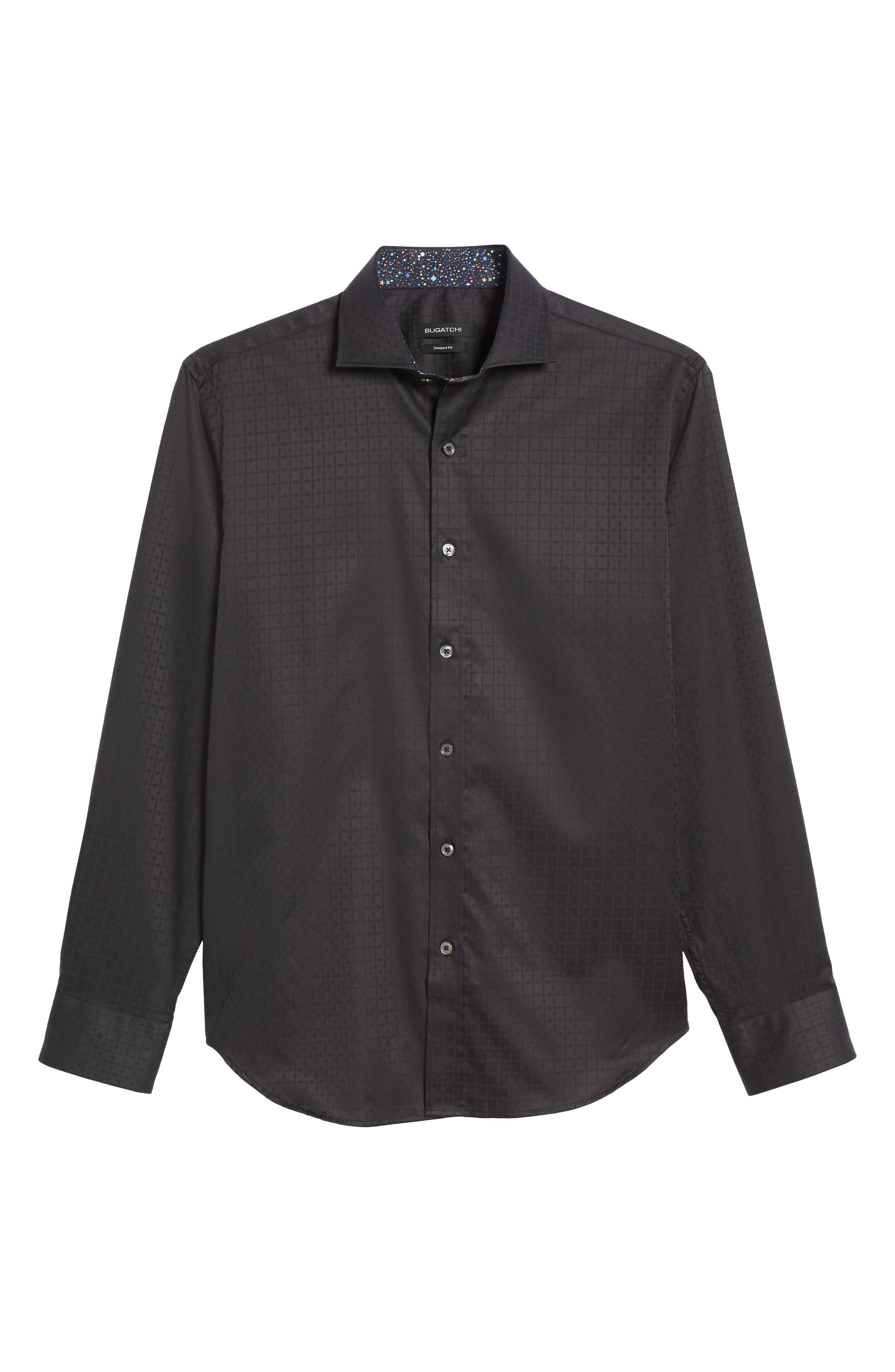 Shaped Fit Sport Shirt,                             Alternate thumbnail 5, color,                             BLACK