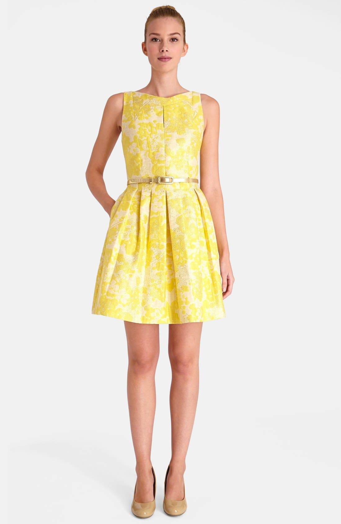 Floral Brocade Fit & Flare Dress,                             Main thumbnail 1, color,                             752