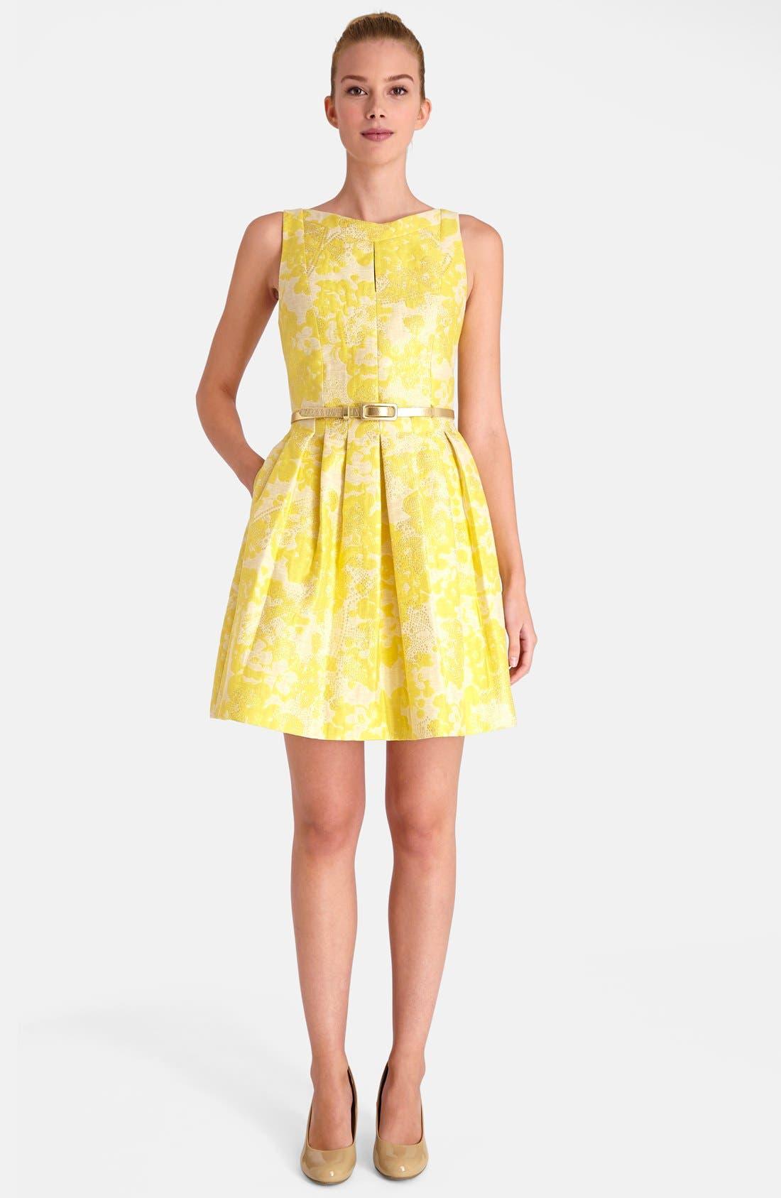 Floral Brocade Fit & Flare Dress, Main, color, 752