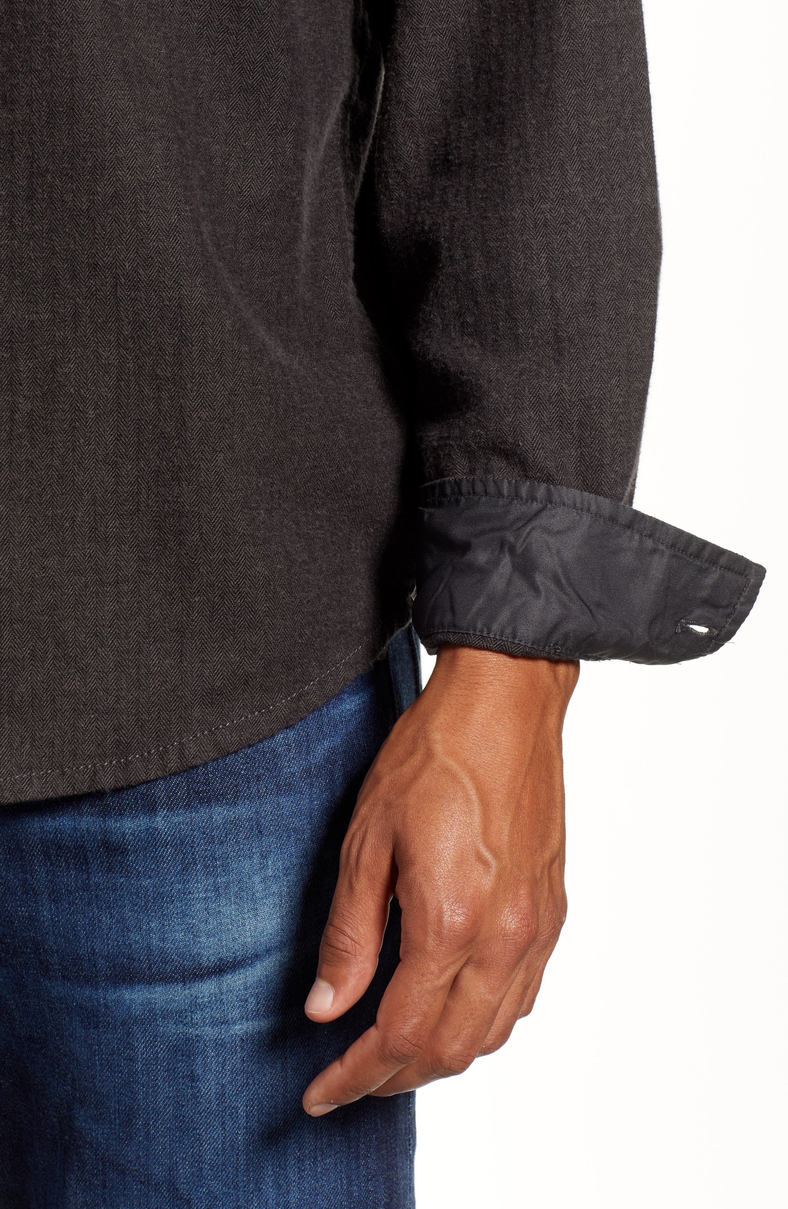 Lybek Regular Fit Herringbone Flannel Shirt,                             Alternate thumbnail 2, color,                             SCORCHED BROWN HERRINGBONE