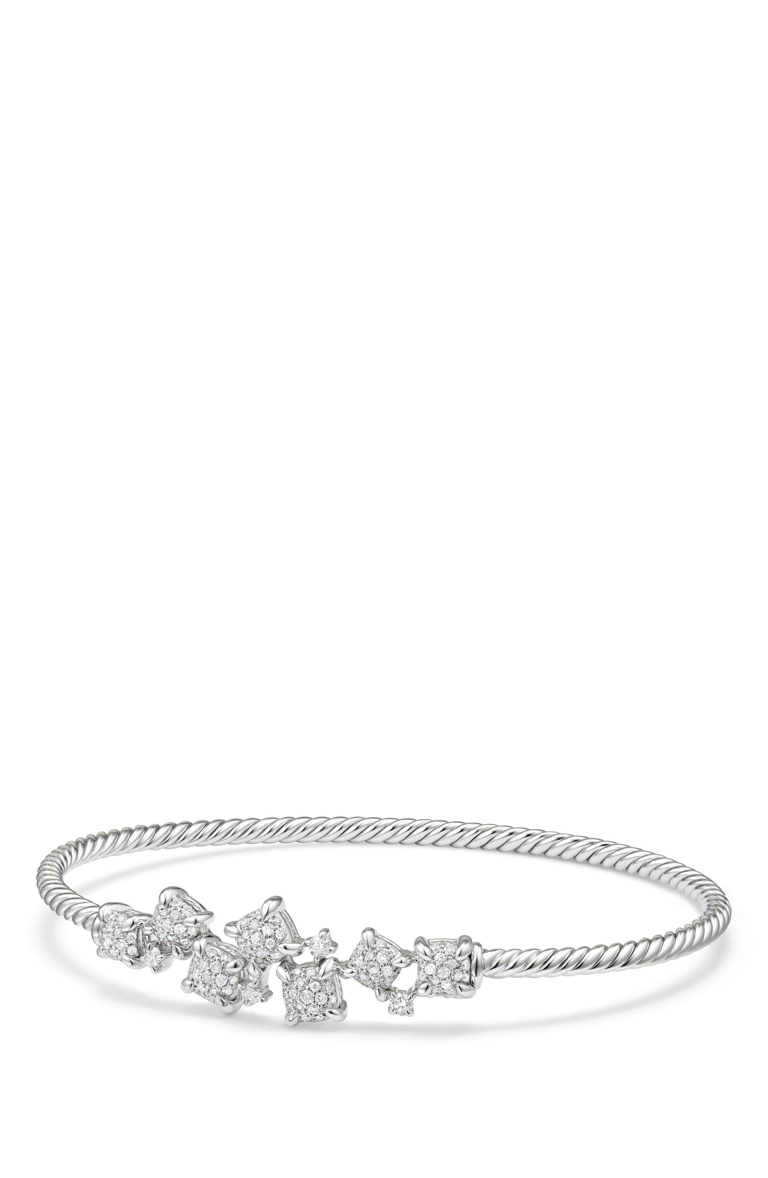 Precious Châtelaine Bracelet with Diamonds in 18K Gold,                             Main thumbnail 1, color,                             WHITE GOLD/ DIAMOND