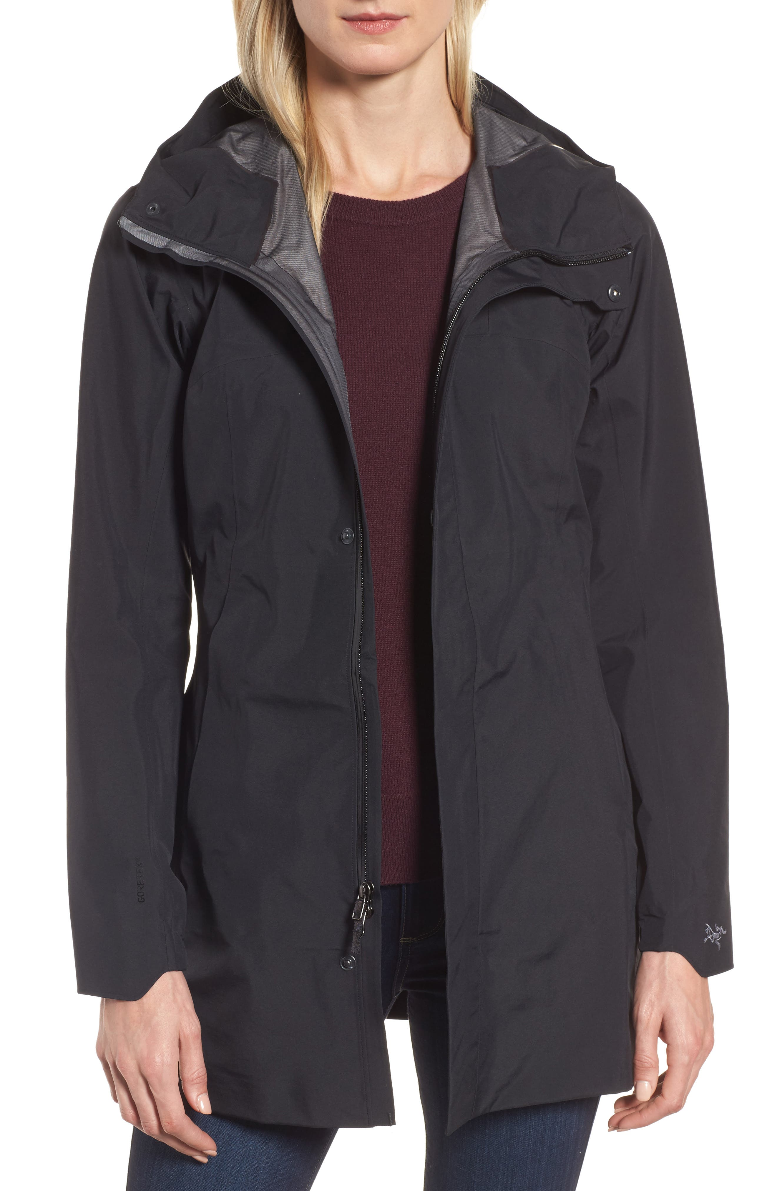 Codetta Waterproof Relaxed Fit Gore-Tex<sup>®</sup> 3L Rain Jacket,                         Main,                         color, 001