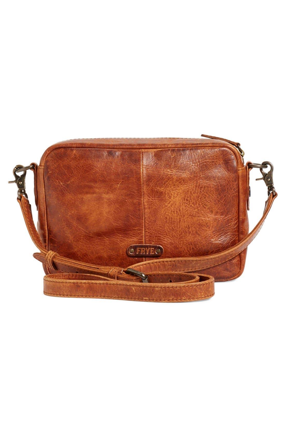 'Melissa' Leather Camera Crossbody Bag,                             Alternate thumbnail 3, color,                             200