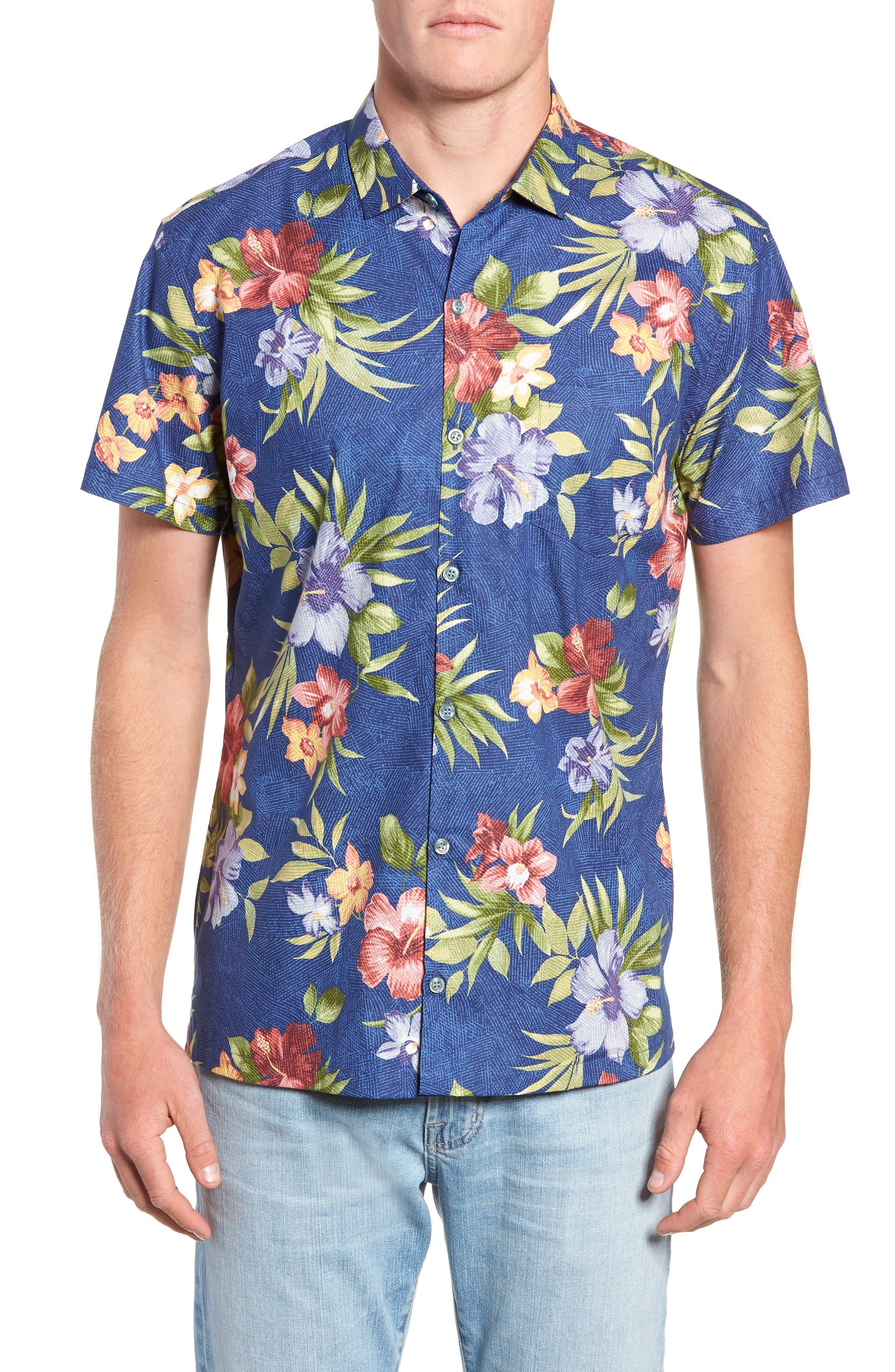 TORI RICHARD Tropical Filter Trim Fit Camp Shirt, Main, color, 415