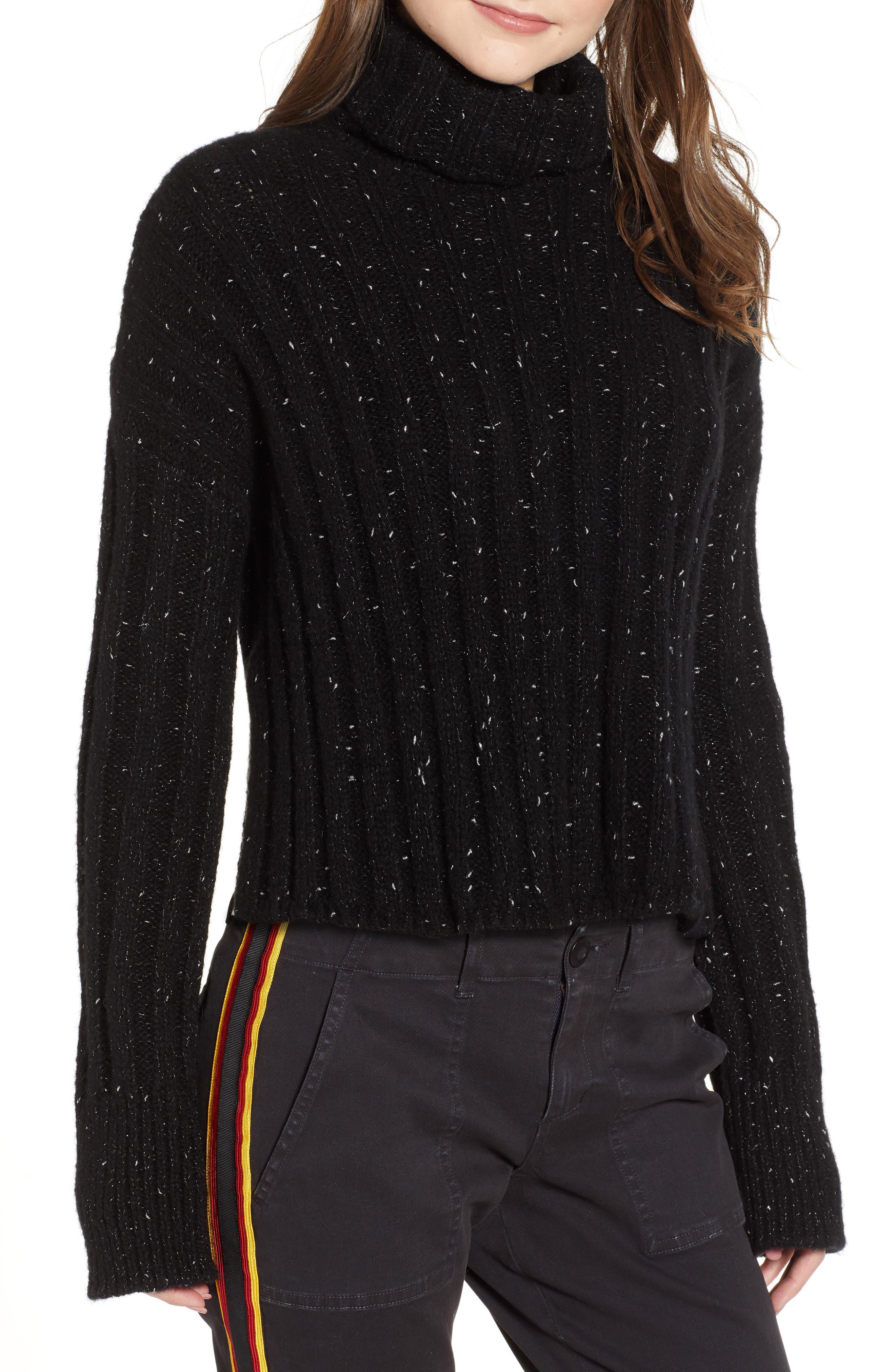Side Slit Turtleneck Sweater,                             Main thumbnail 1, color,                             BLACK MIRROR