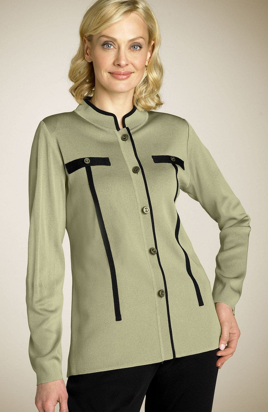 Exclusively Misook Button Front Jacket,                             Main thumbnail 1, color,                             IXV